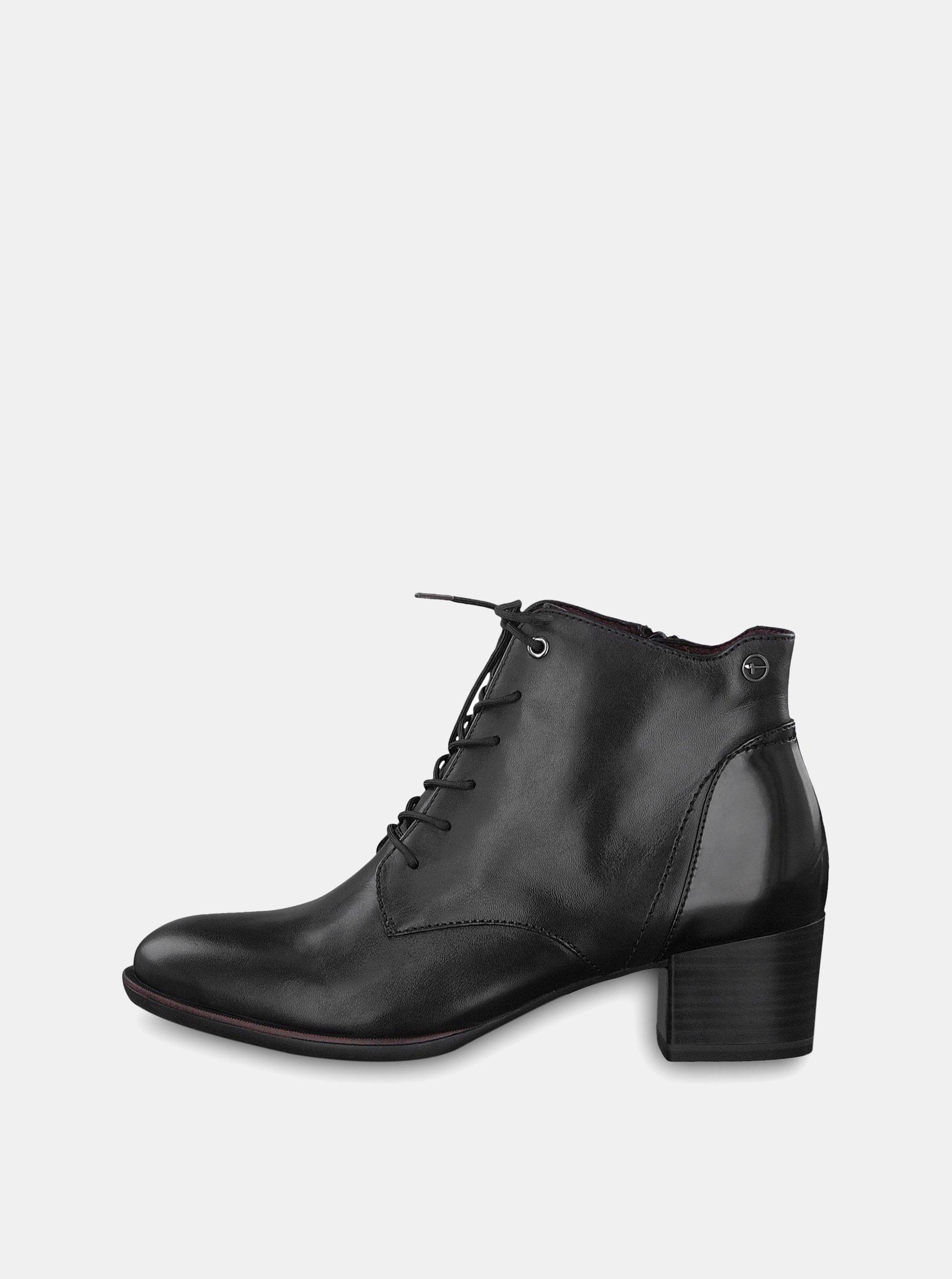 f33bfeb7bbd9 Čierne kožené členkové topánky Tamaris