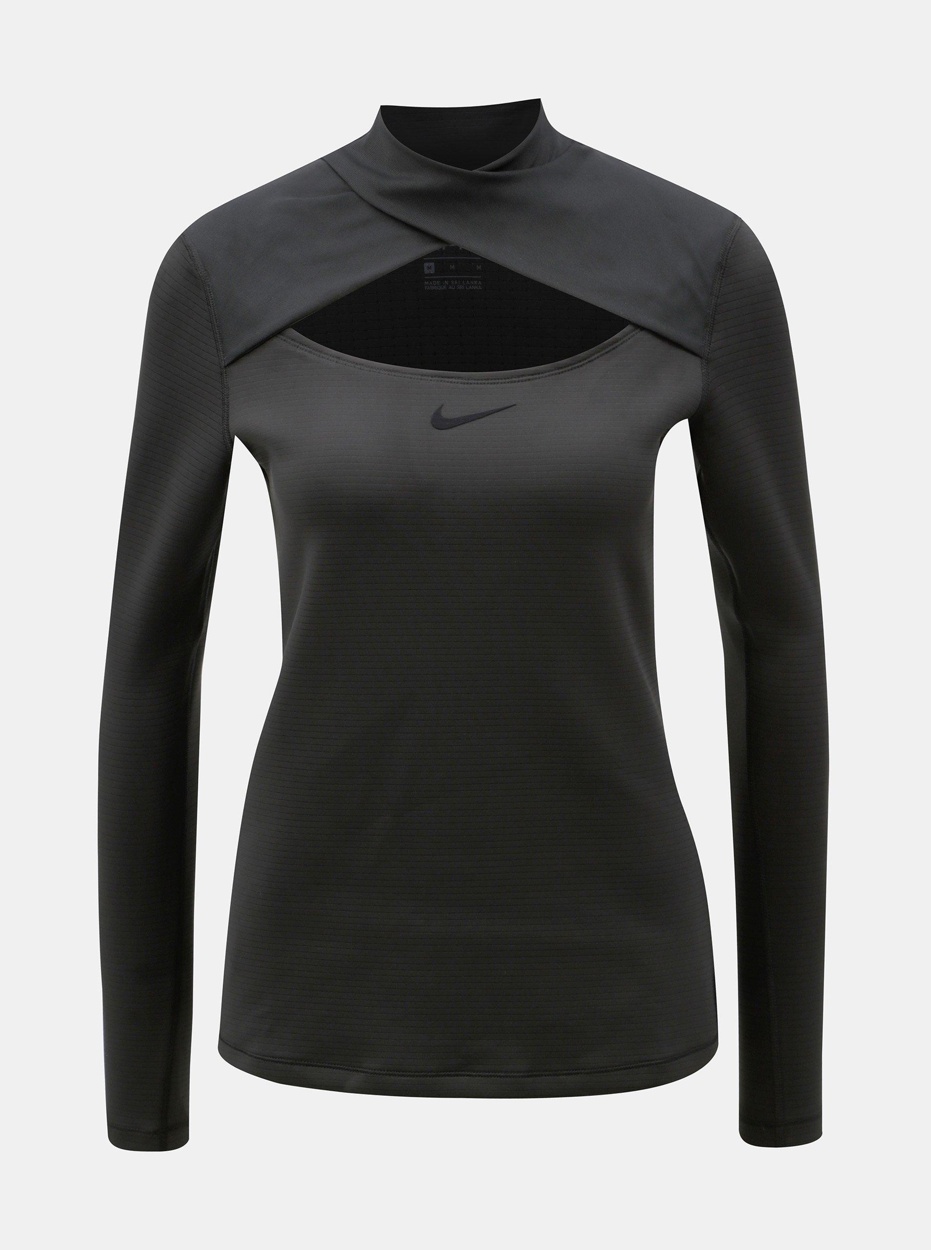 4b400c27ad2a Čierne dámske funkčné tričko s prestrihom Nike