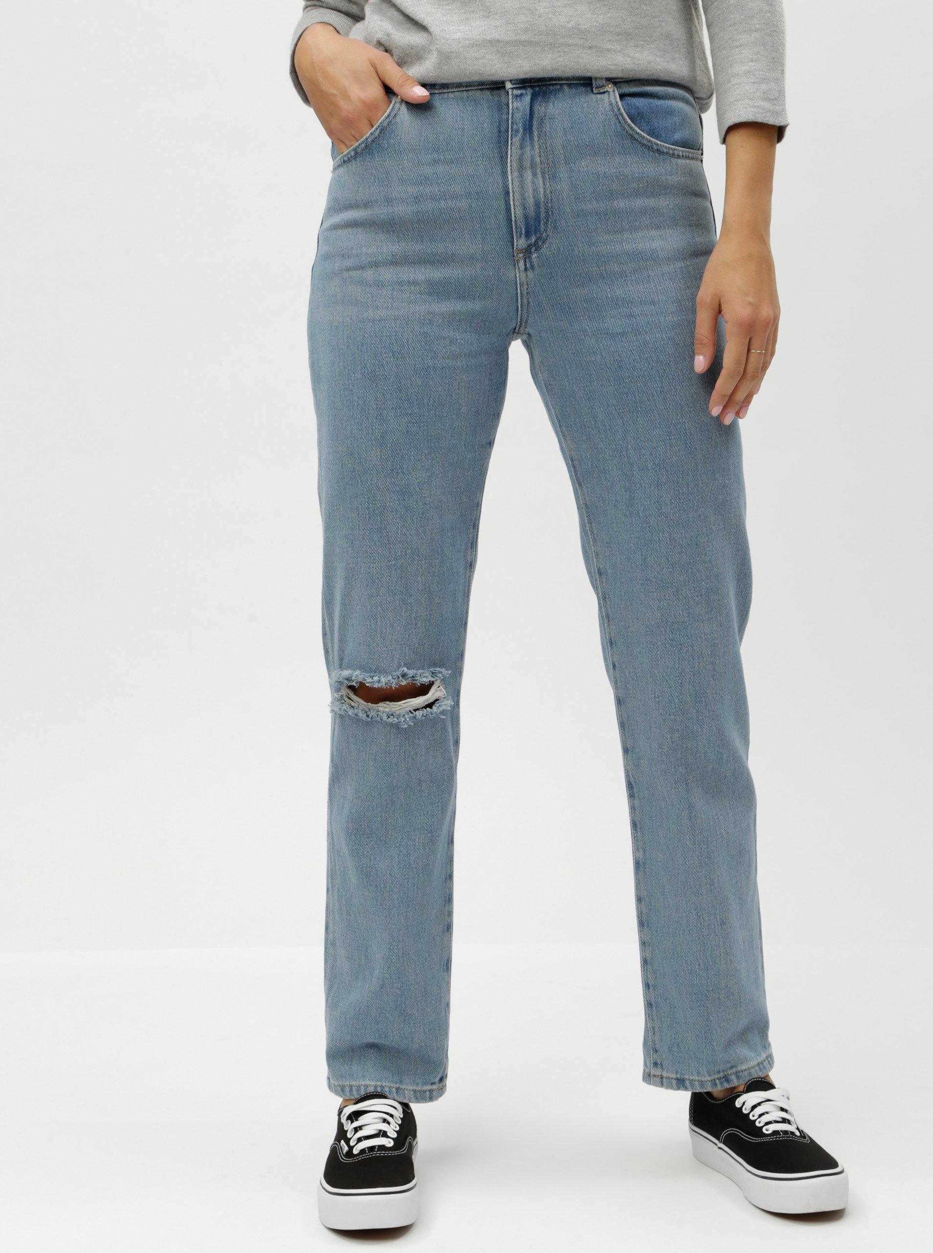 Modré boyfriend džíny s vysokým pasem a potrhaným efektem French Connection