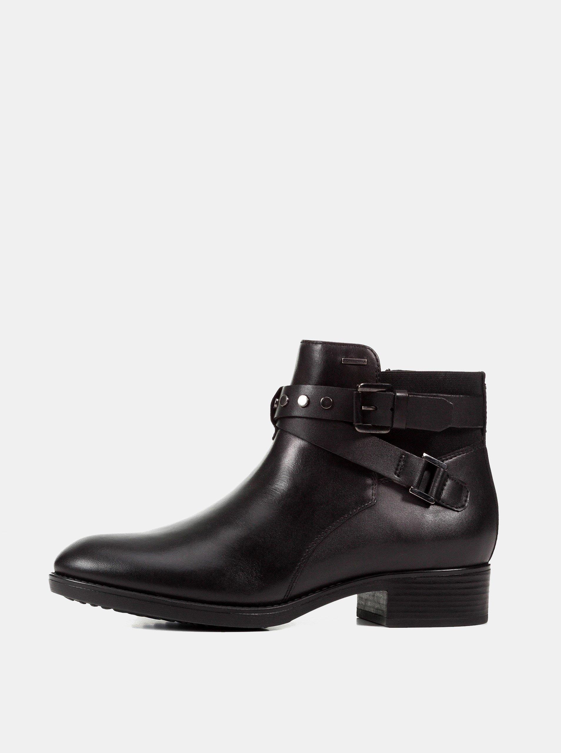 27f72ec4483 Černé dámské kožené voděodolné kotníkové boty Geox