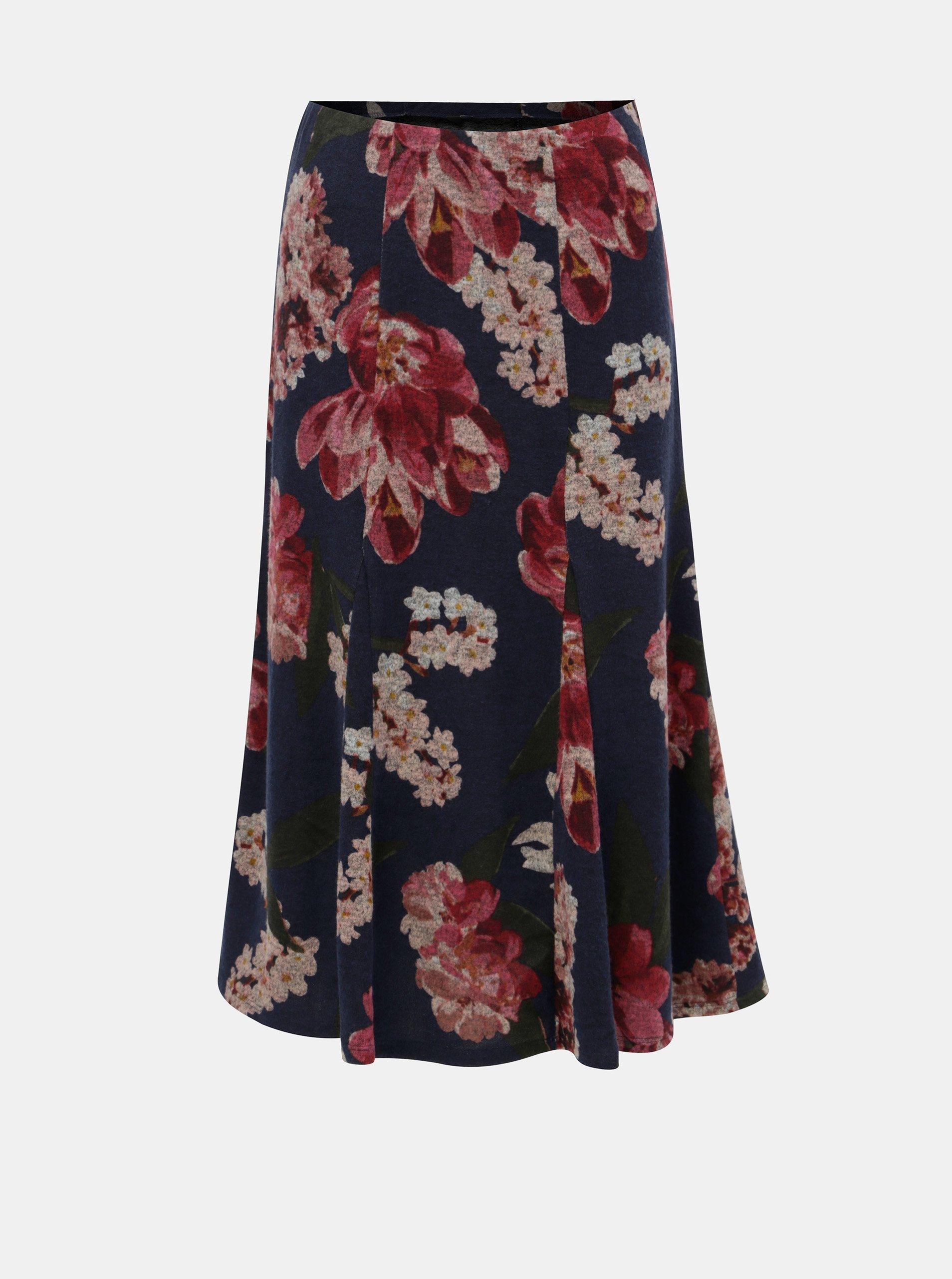 Růžovo-modrá květovaná midi sukně M&Co
