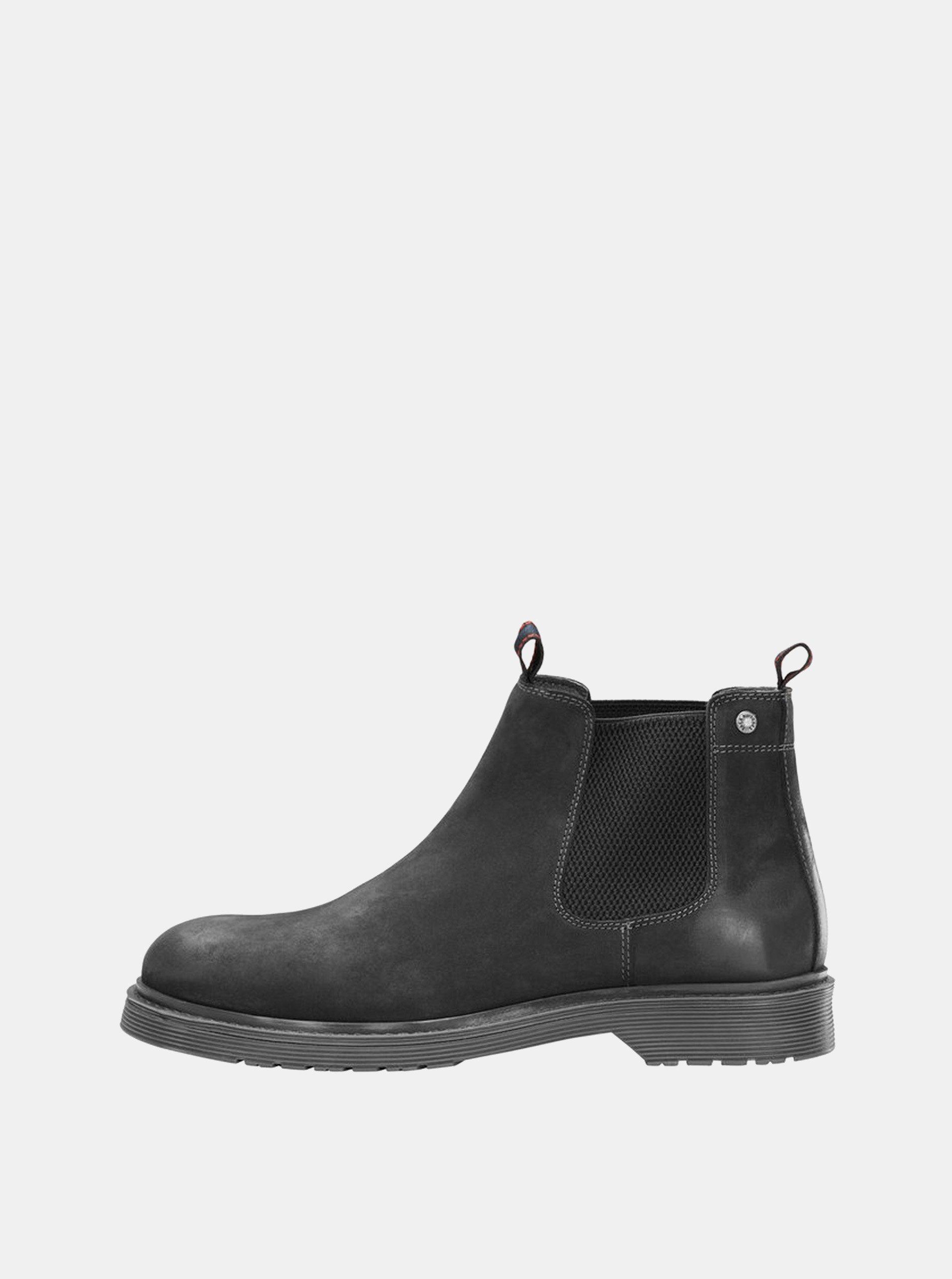 Černé pánské kožené chelsea boty Jack   Jones Leyton e218eb94bd