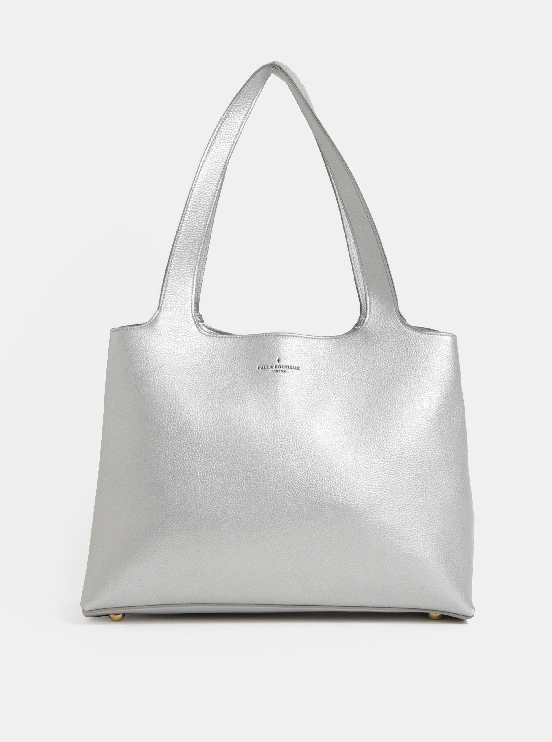 Velká koženková kabelka ve stříbrné barvě Paul's Boutique Roxy