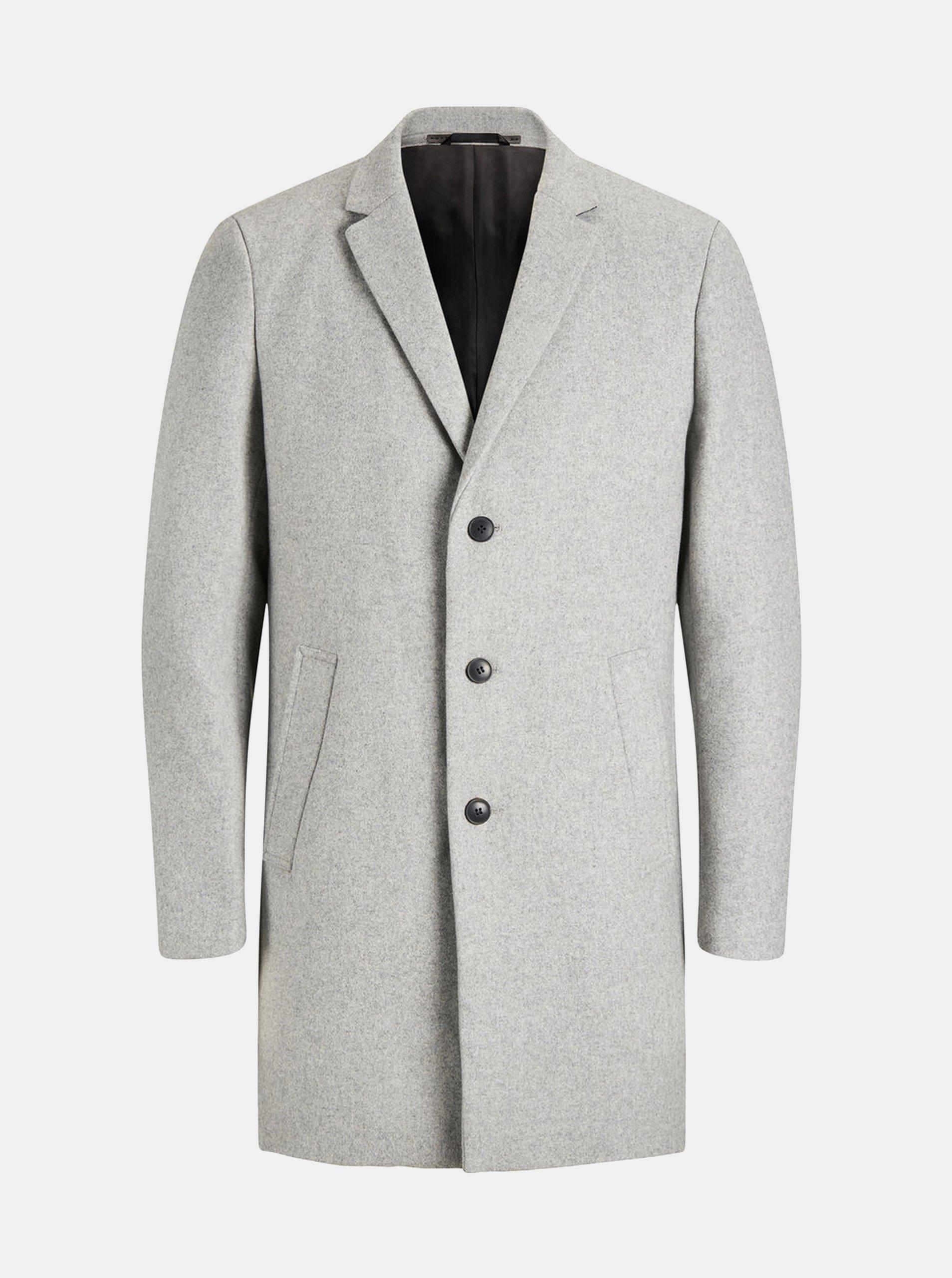 Šedý žíhaný propínací kabát s příměsí vlny Jack   Jones Morten 7931a3e1c1
