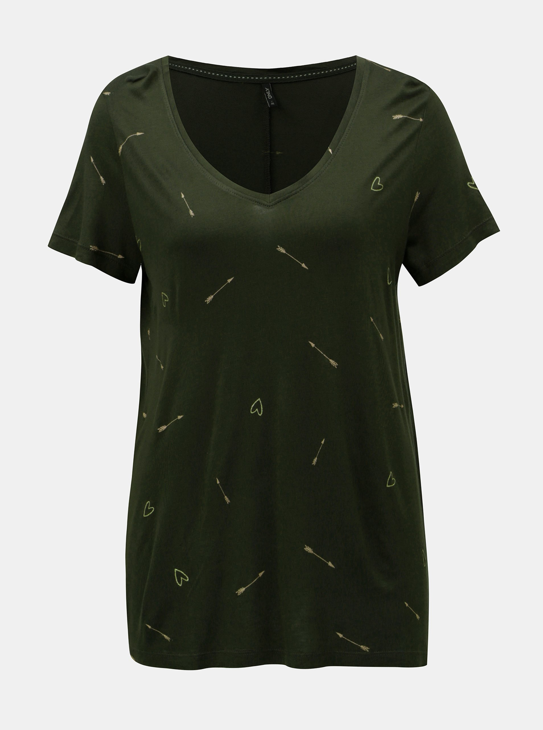 Tmavě zelené volné tričko s motivem srdcí a šípů ONLY Sabel cf4b808c02