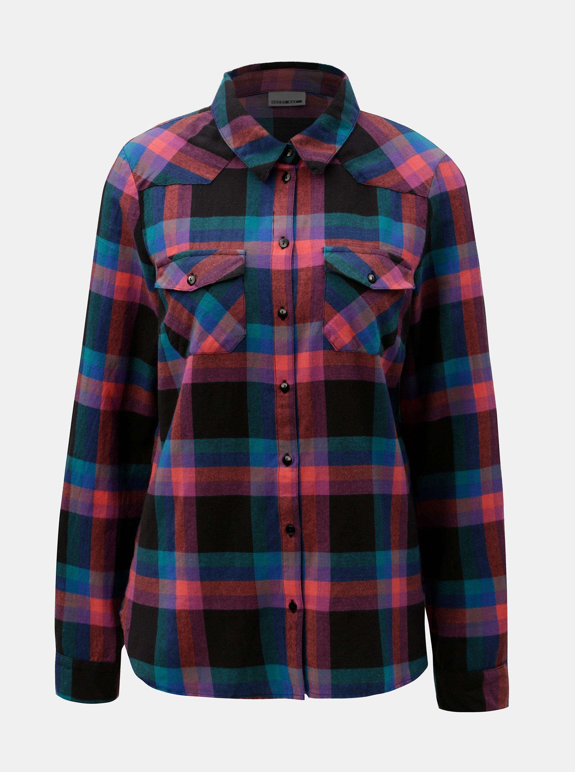 a888b3f2f1c1 Černo-fialová kostkovaná flanelová košile Noisy May