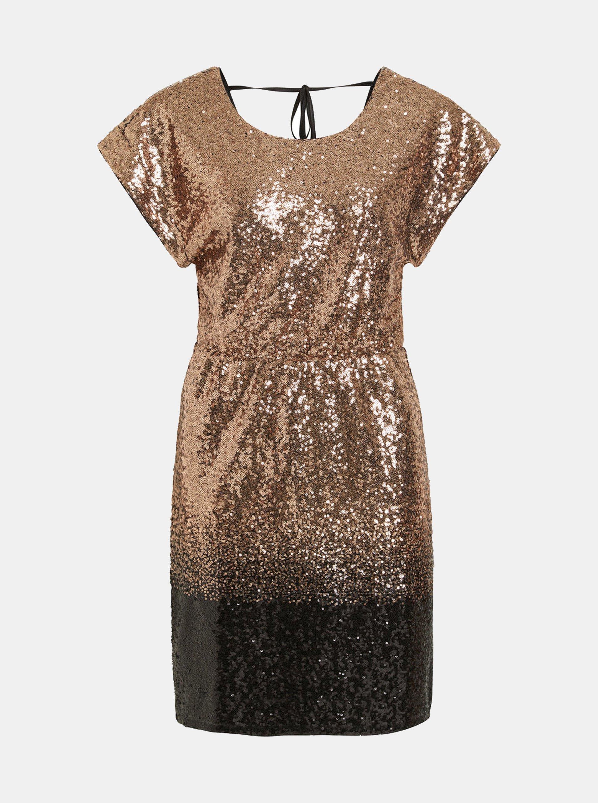 Šaty s flitry v černo-zlaté barvě VILA Elvia e0f3e044a6