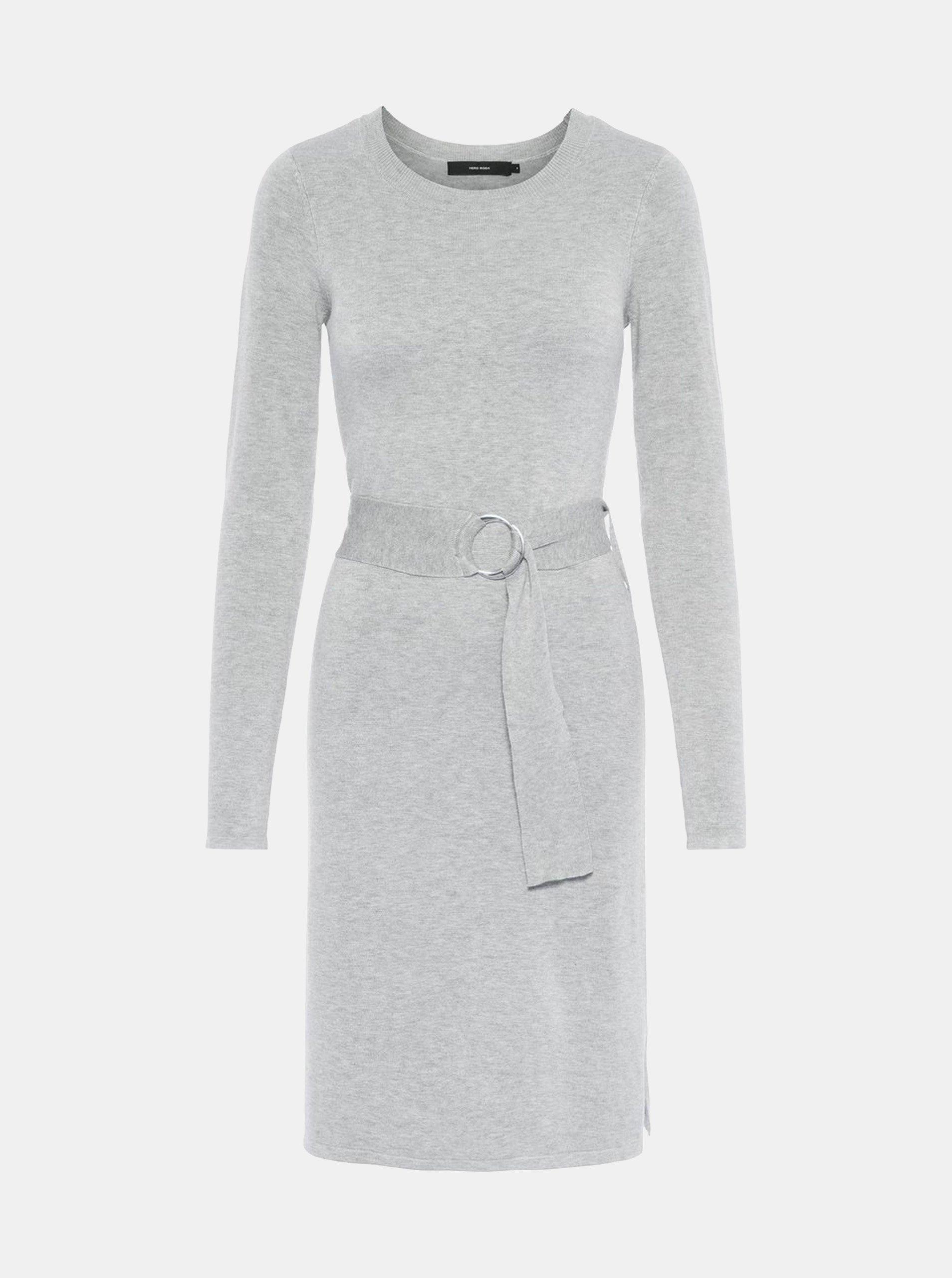 Šedé svetrové šaty s páskem VERO MODA Sidse 633f7405b3