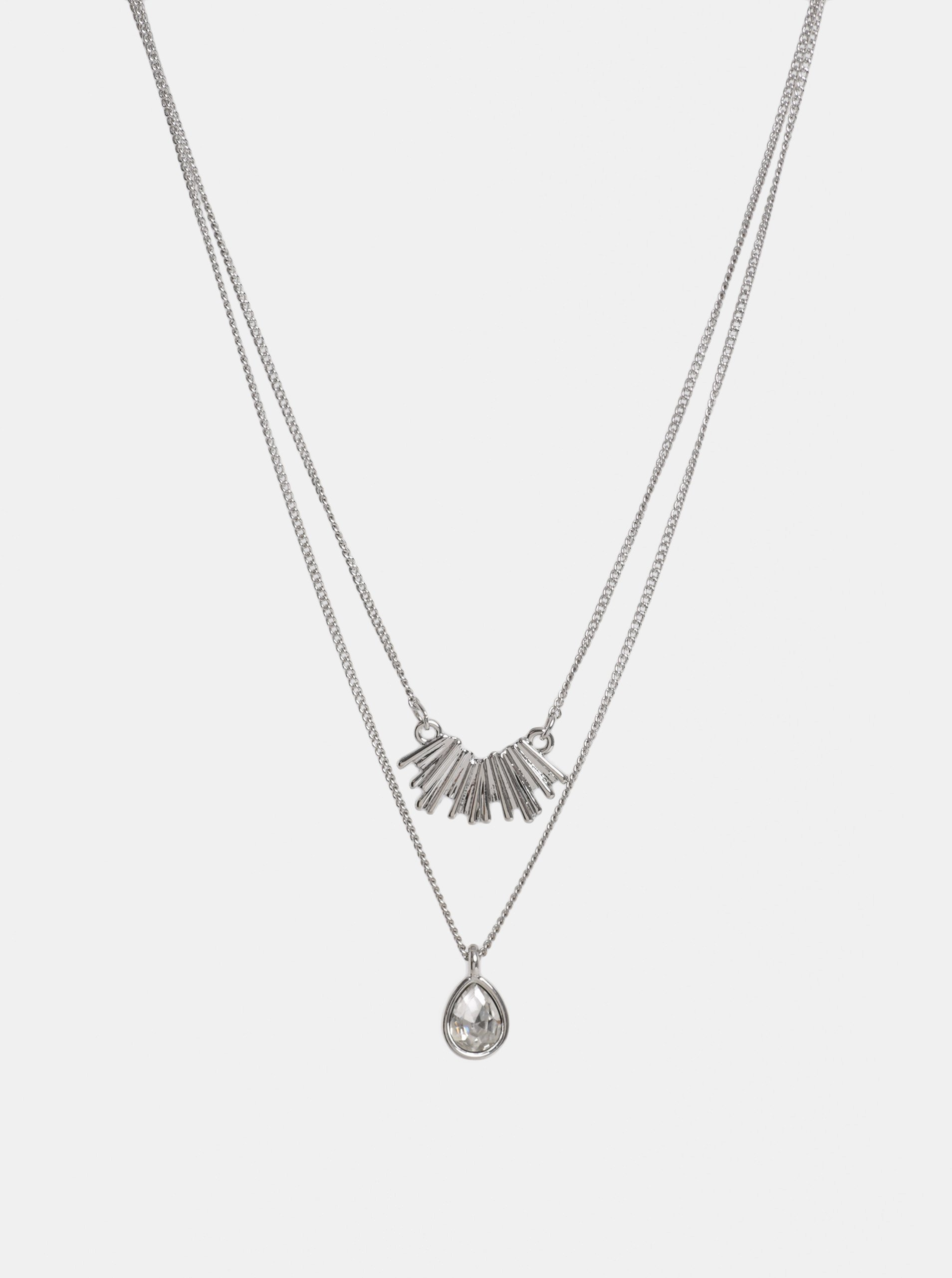 aac864b75 Náhrdelník ve stříbrné barvě s přívěšky a kamínkem Pieces Kornelia