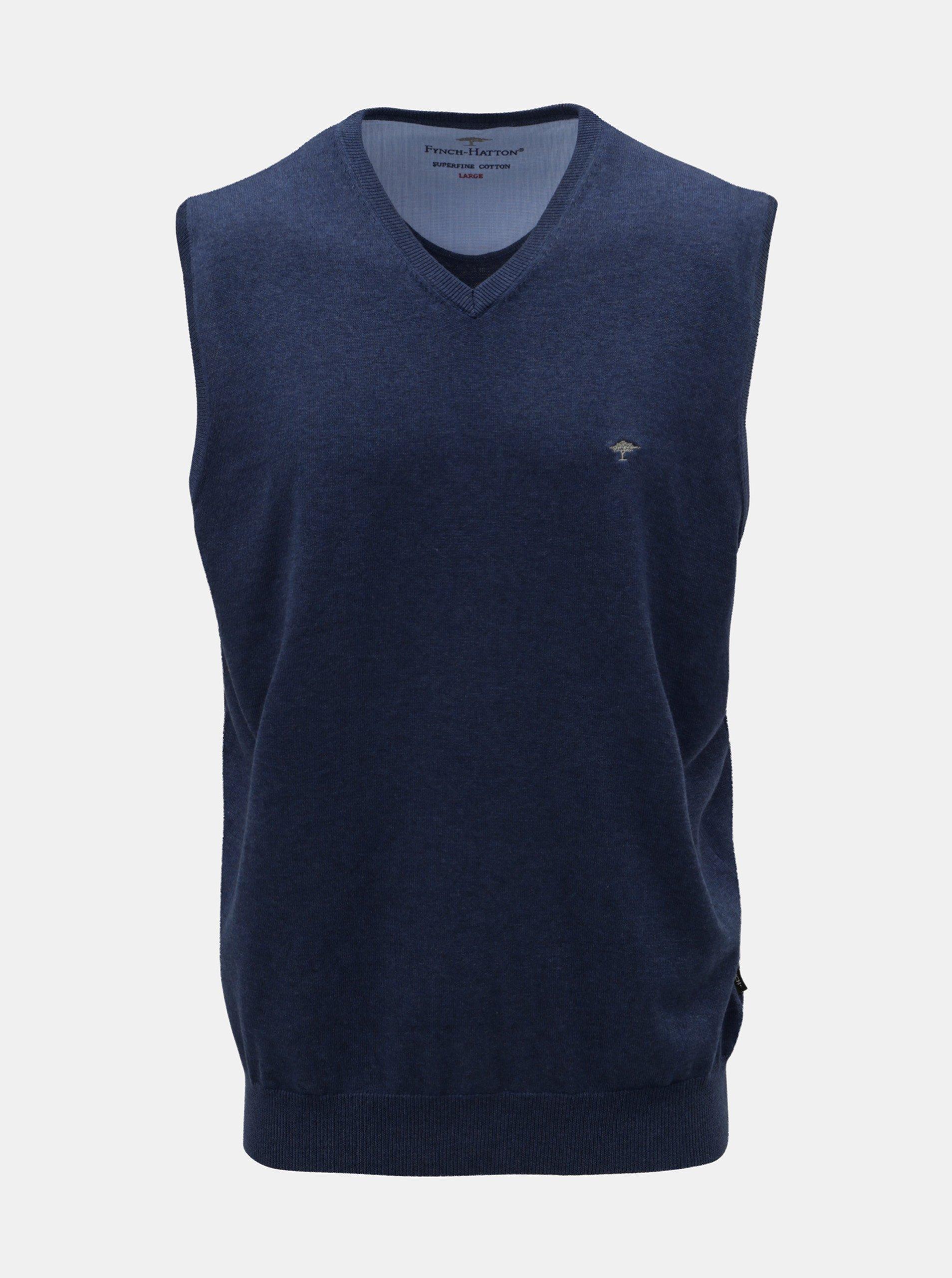 Modrá svetrová vesta s véčkovým výstřihem Fynch-Hatton