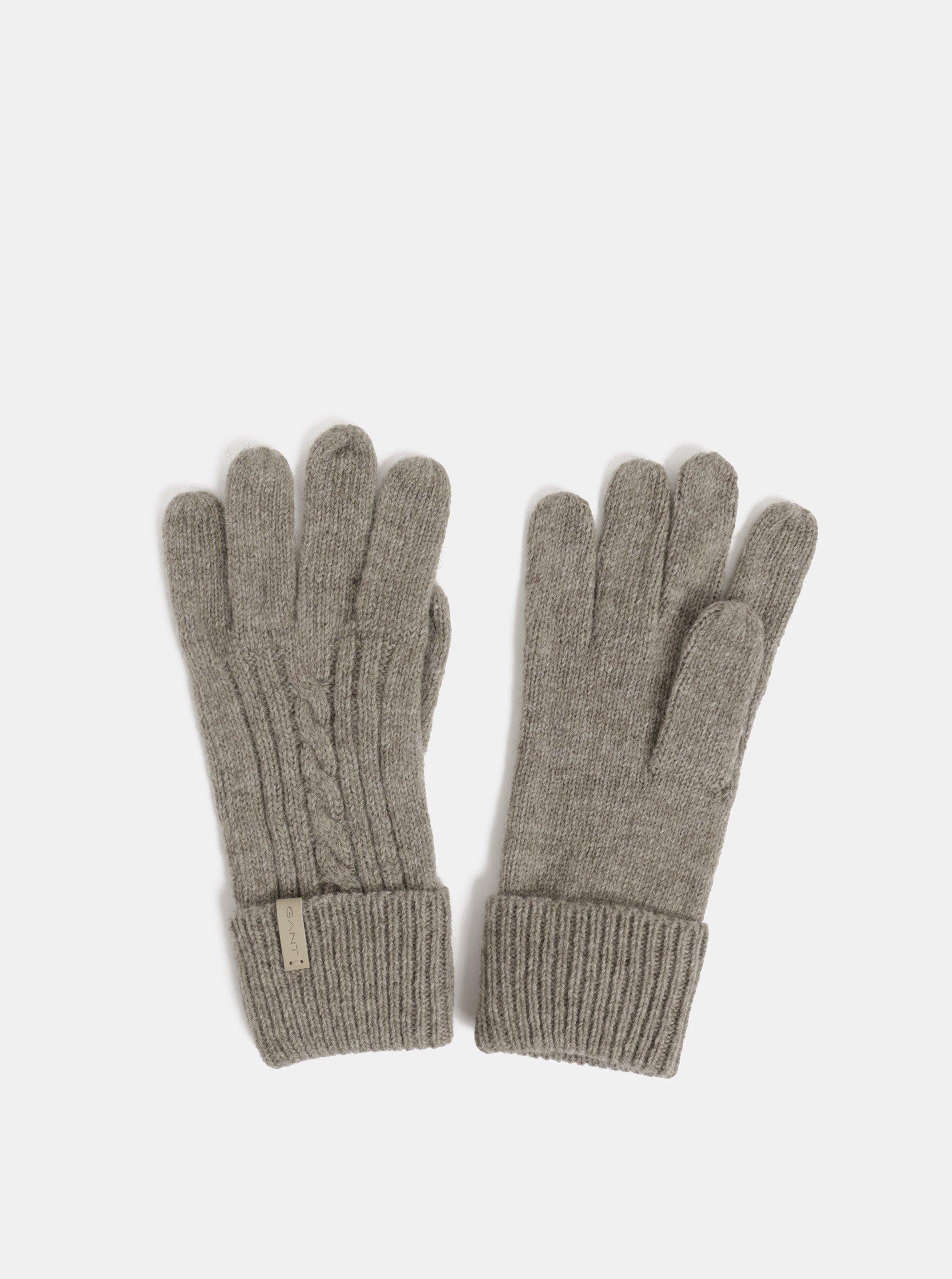 Hnědé dámské rukavice s příměsí vlny GANT Cable Knit