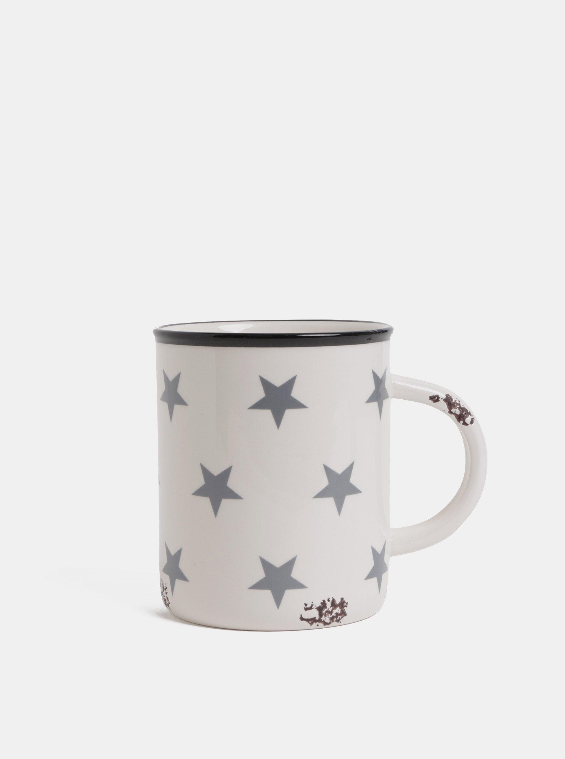 Sivo–biely hrnček s motívom hviezd Dakls 450 ml