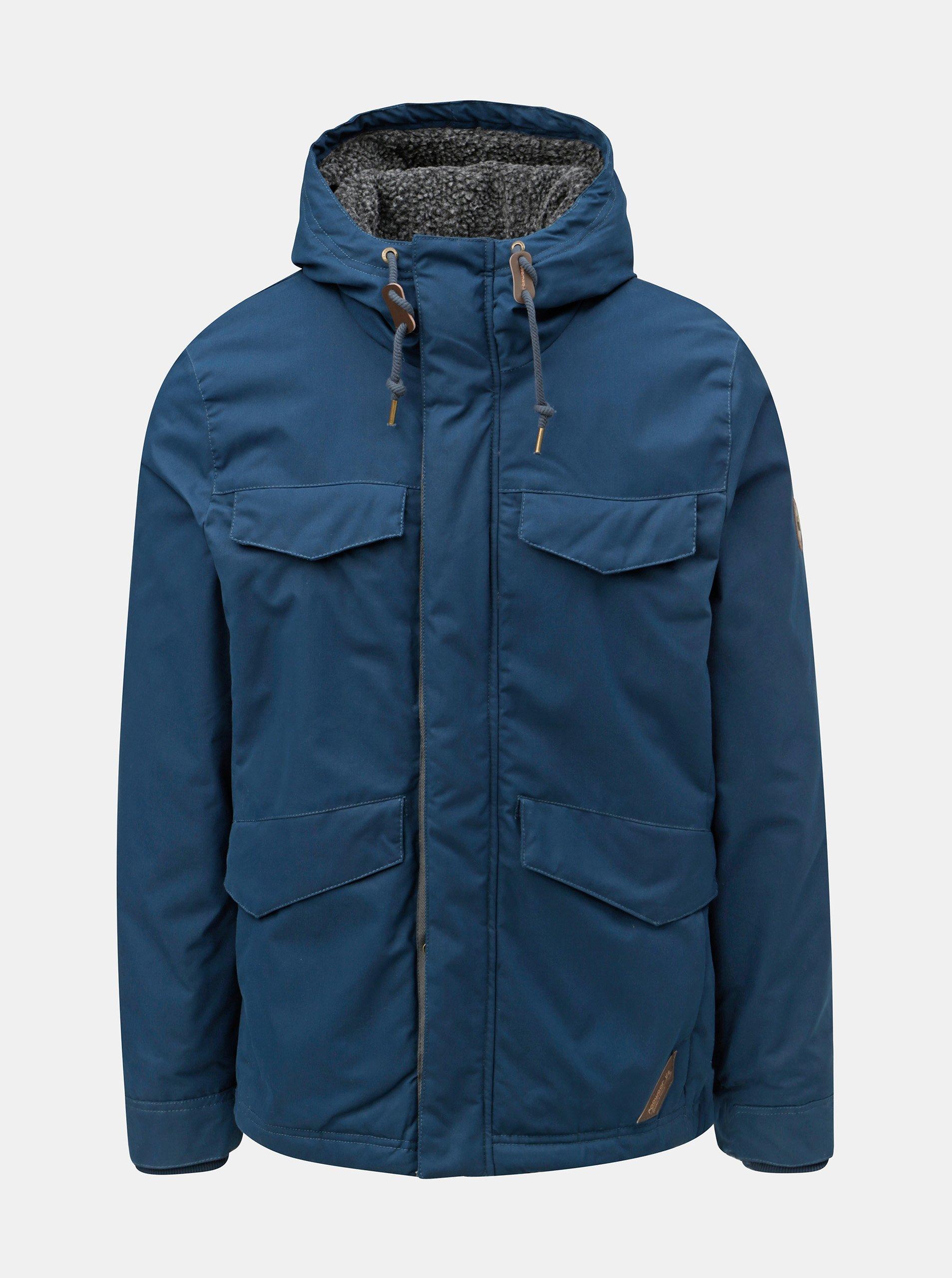 Tmavě modrá pánská zimní bunda s kapucí Ragwear