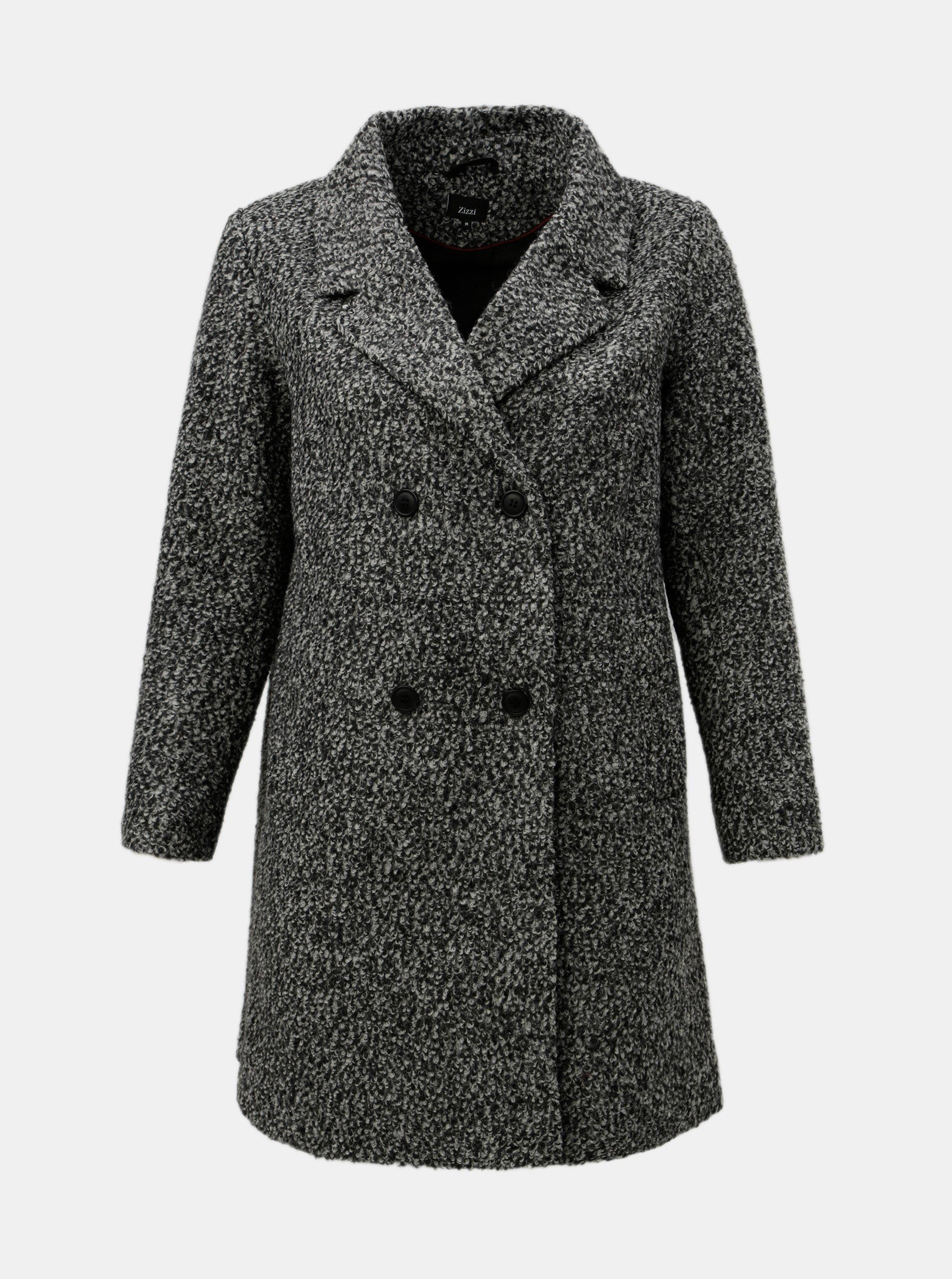 Šedý žíhaný vlněný kabát Zizzi 82c6e9c3fad