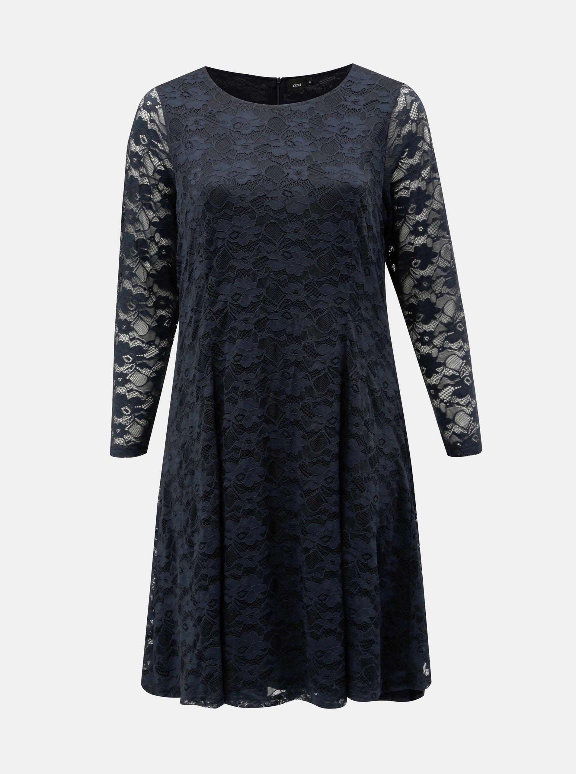 b85ce56055d Tmavě modré šaty s dlouhým rukávem Zizzi