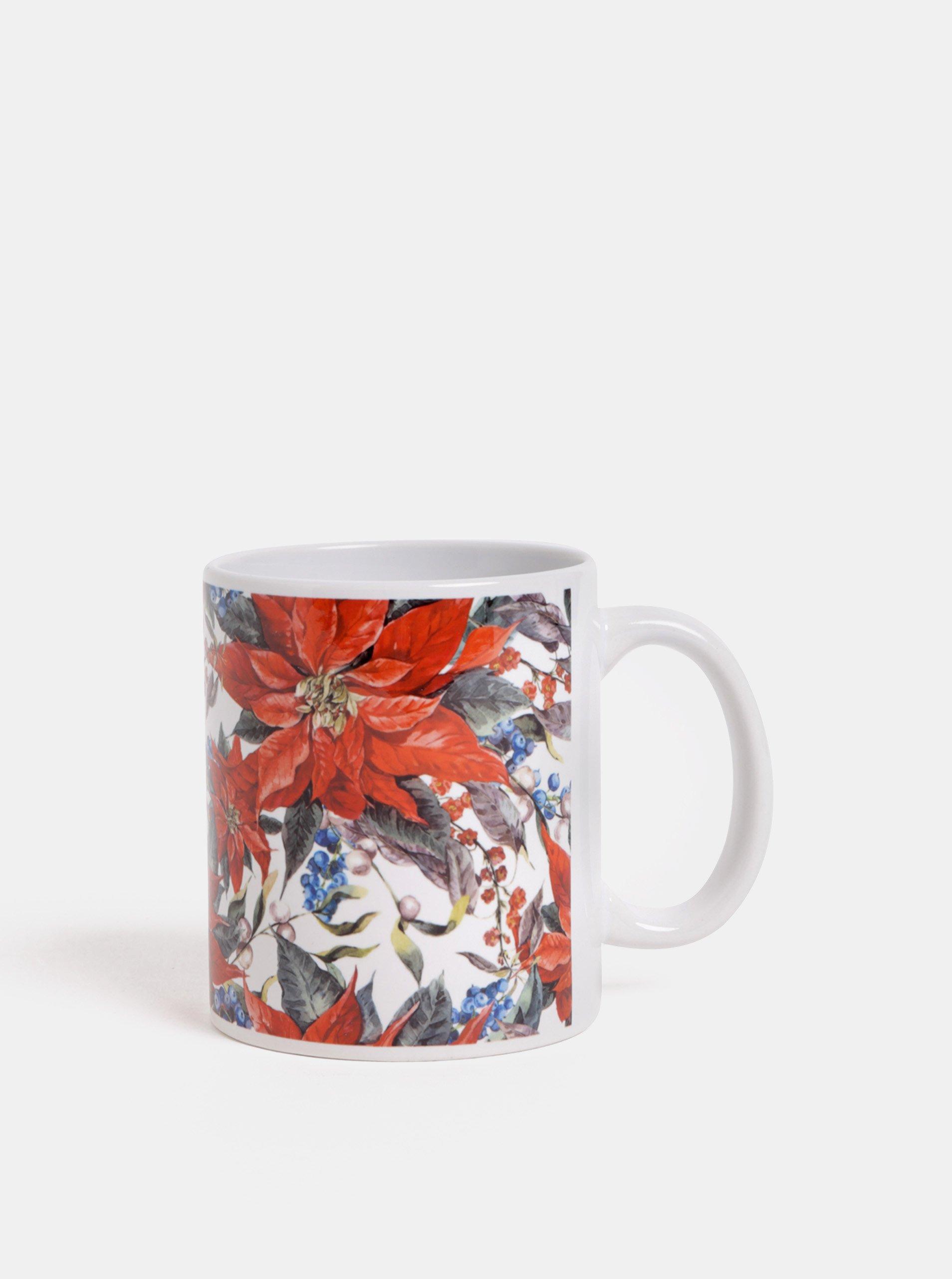 Červeno–biely hrnček s motívom kvetov Butter Kings