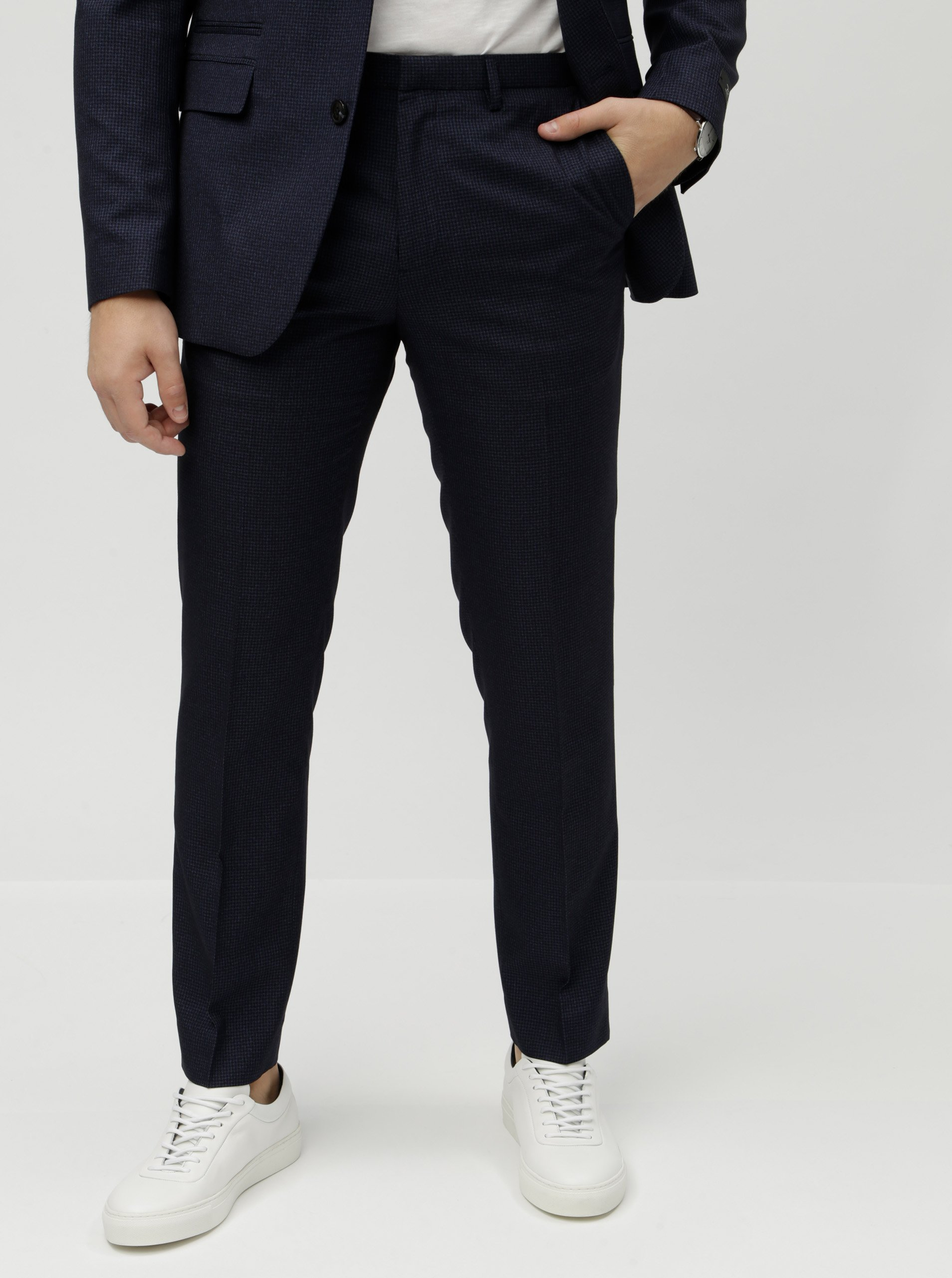 6ed1bad5f0 Tmavě modré kostkované oblekové slim fit kalhoty Burton Menswear London  Puppytooth