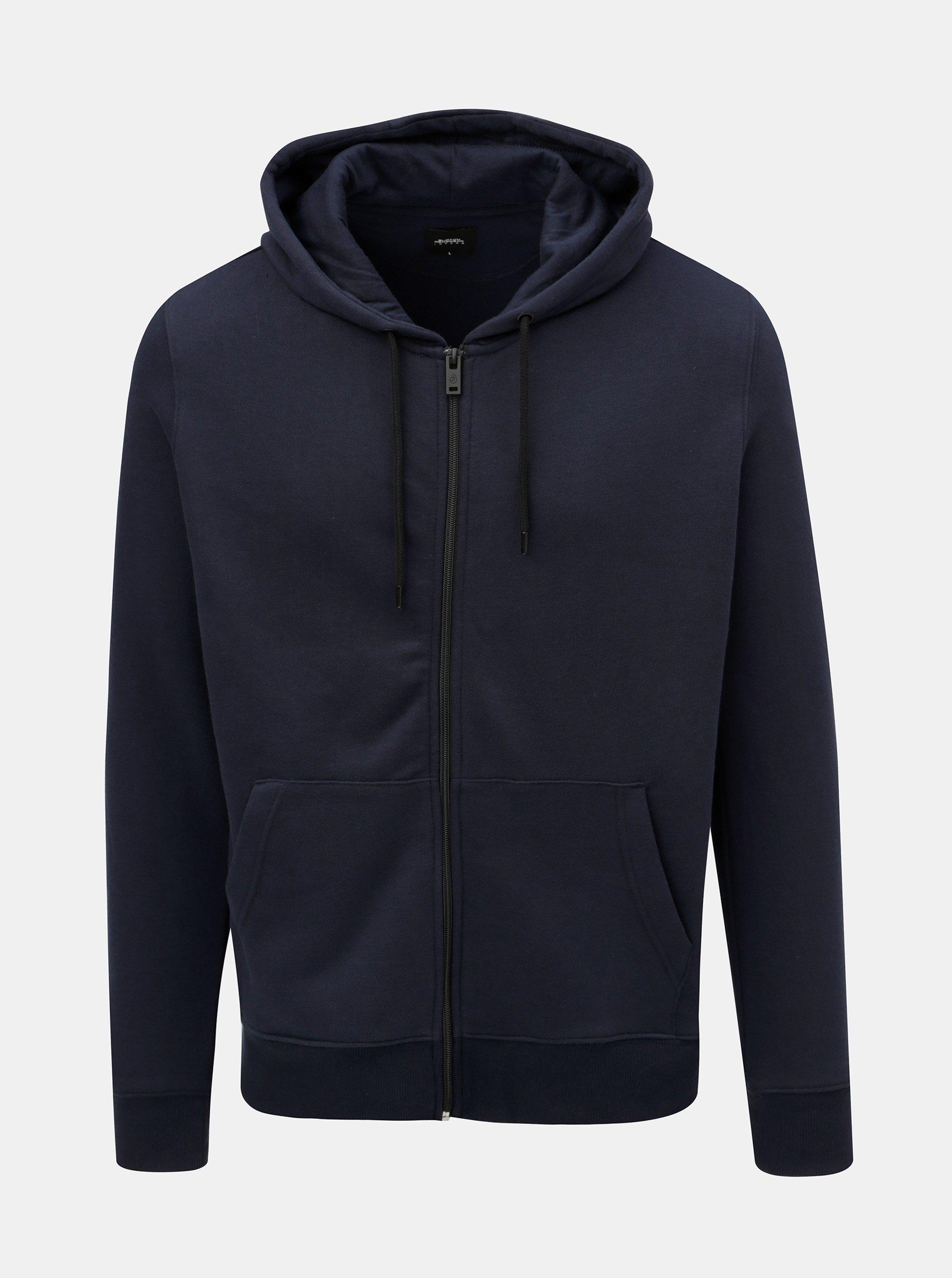 15401ad336 Tmavě modrá mikina s kapucí na zip Burton Menswear London
