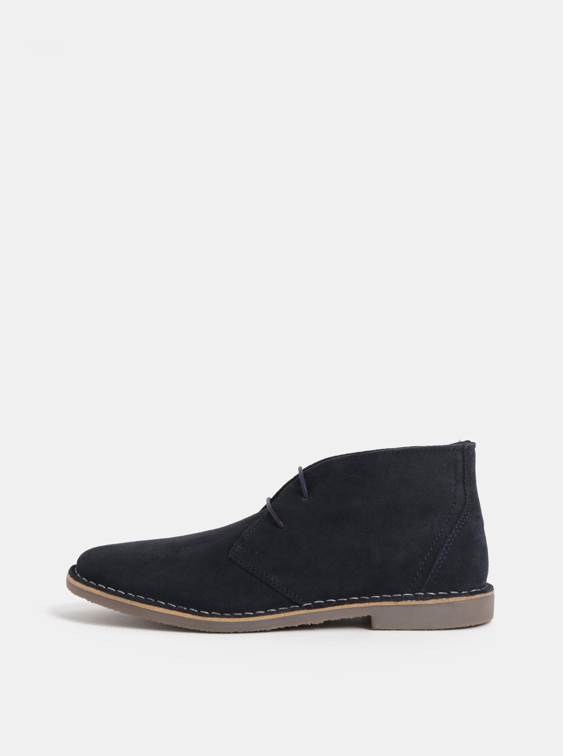 Tmavě modré pánské semišové kotníkové boty Burton Menswear London Castle Desert