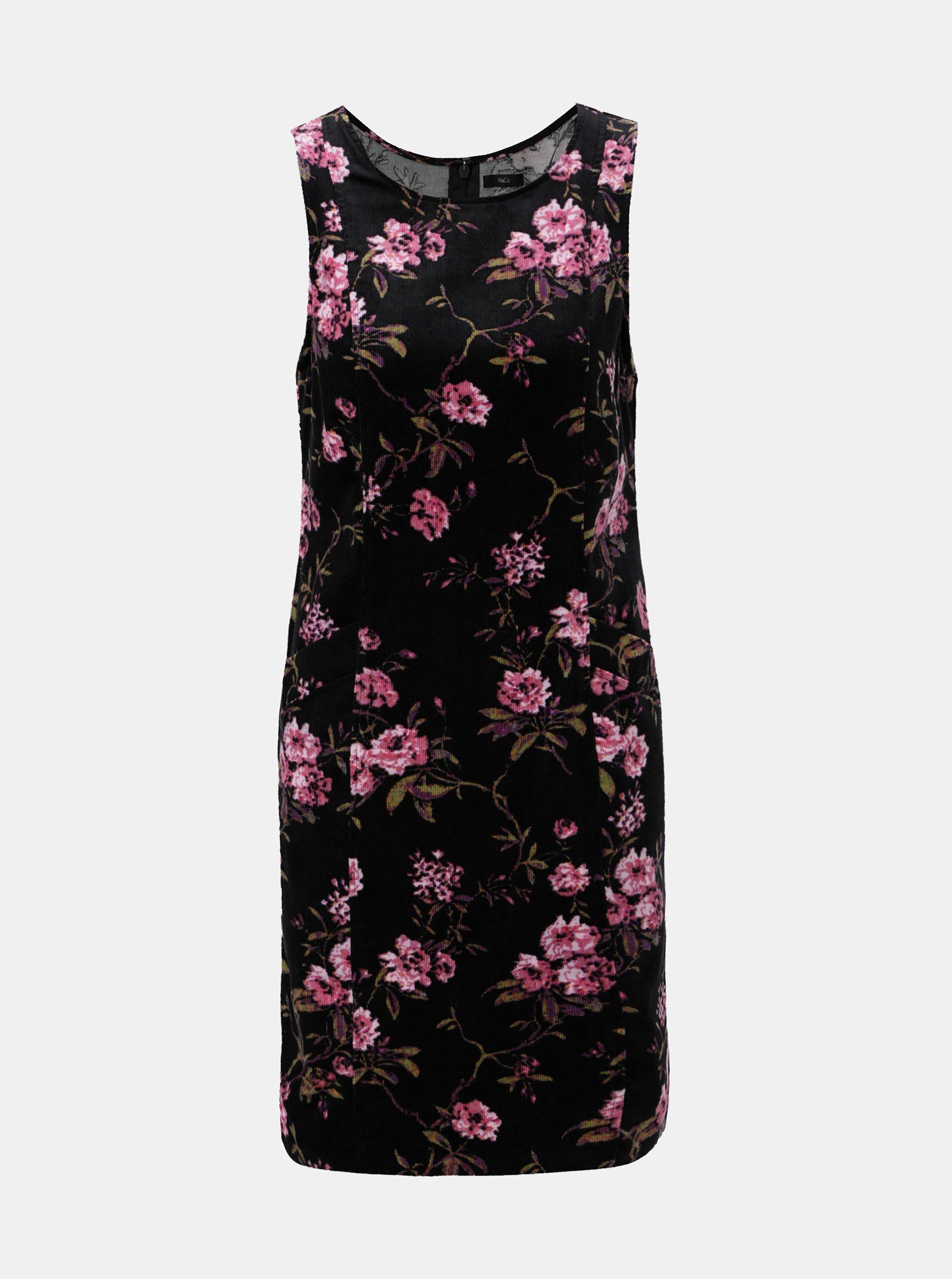Čierne kvetované menčestrové šaty s vreckami M&Co Flora