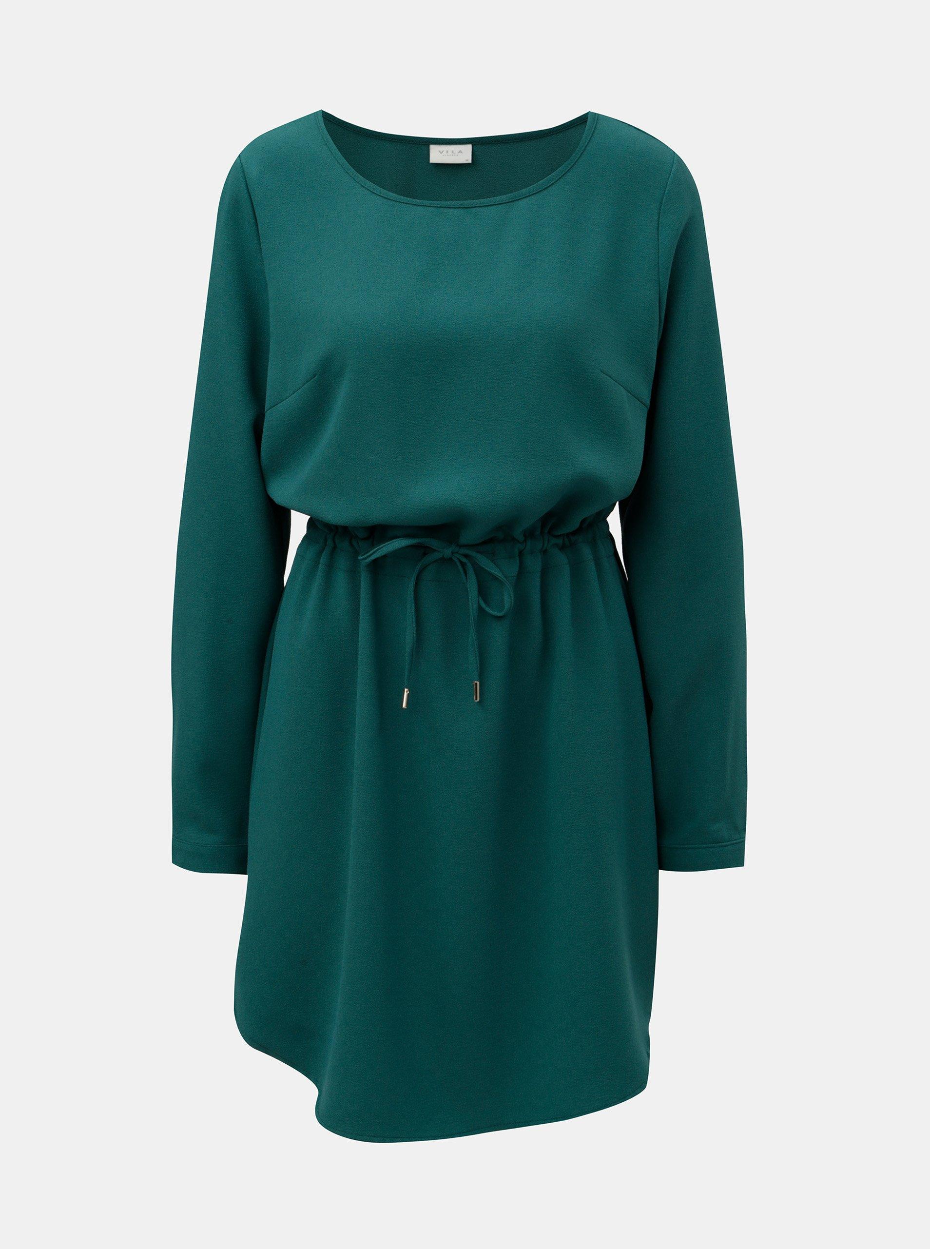 Zelené šaty s dlhým rukávom VILA Visealo