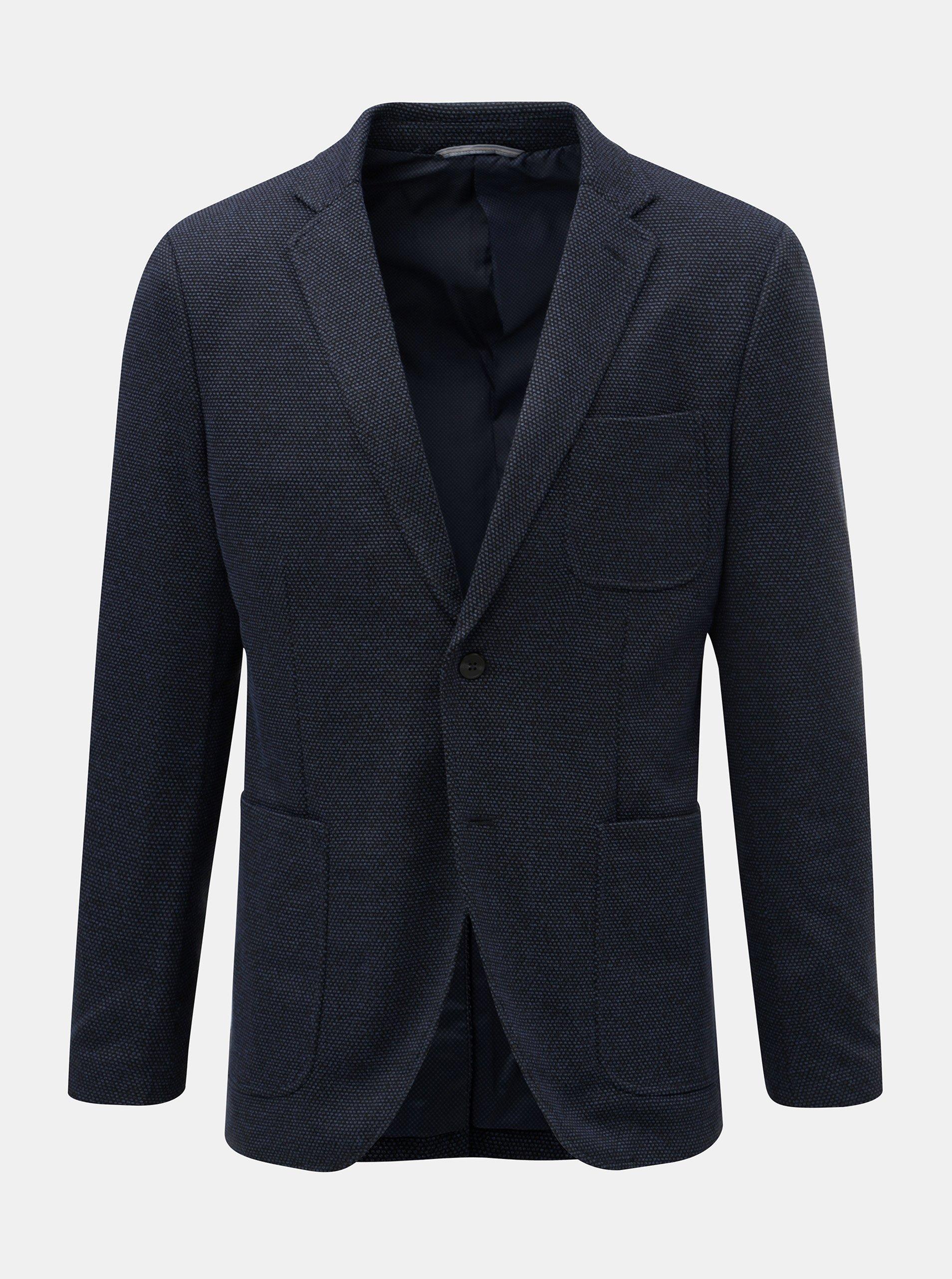 Tmavě modré sako s drobným vzorem Jack & Jones Liam
