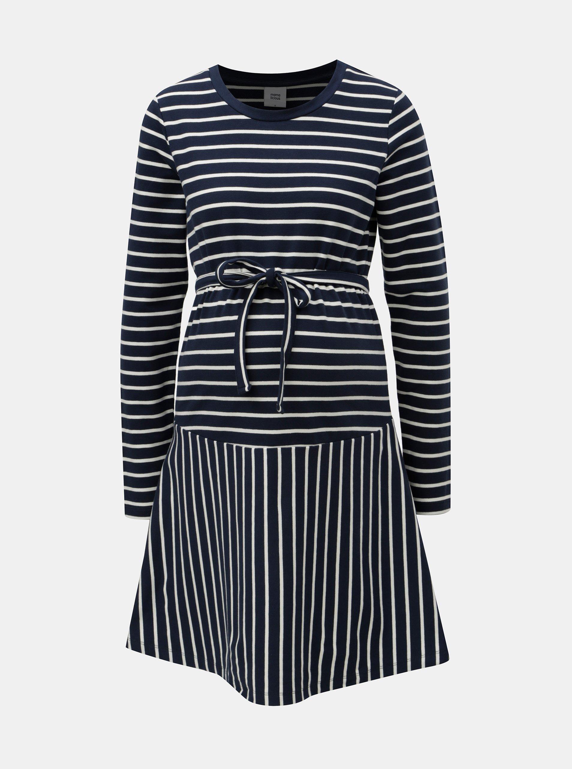 d6be3ff617b0 Bílo-modré pruhované těhotenské šaty Mama.licious Molly