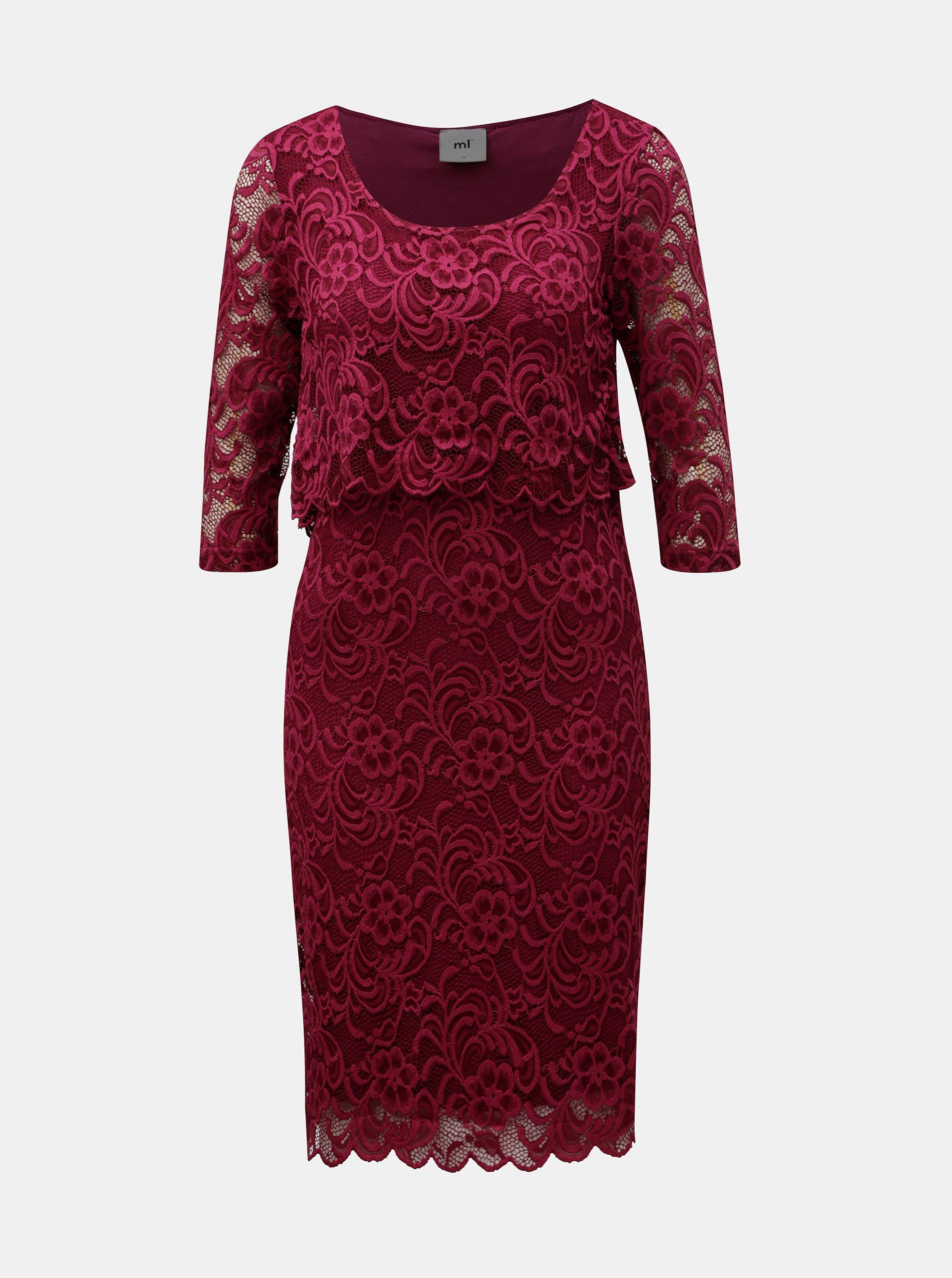 Ružové tehotenské čipkované šaty vhodné na dojčenie Mama.licious Mivane