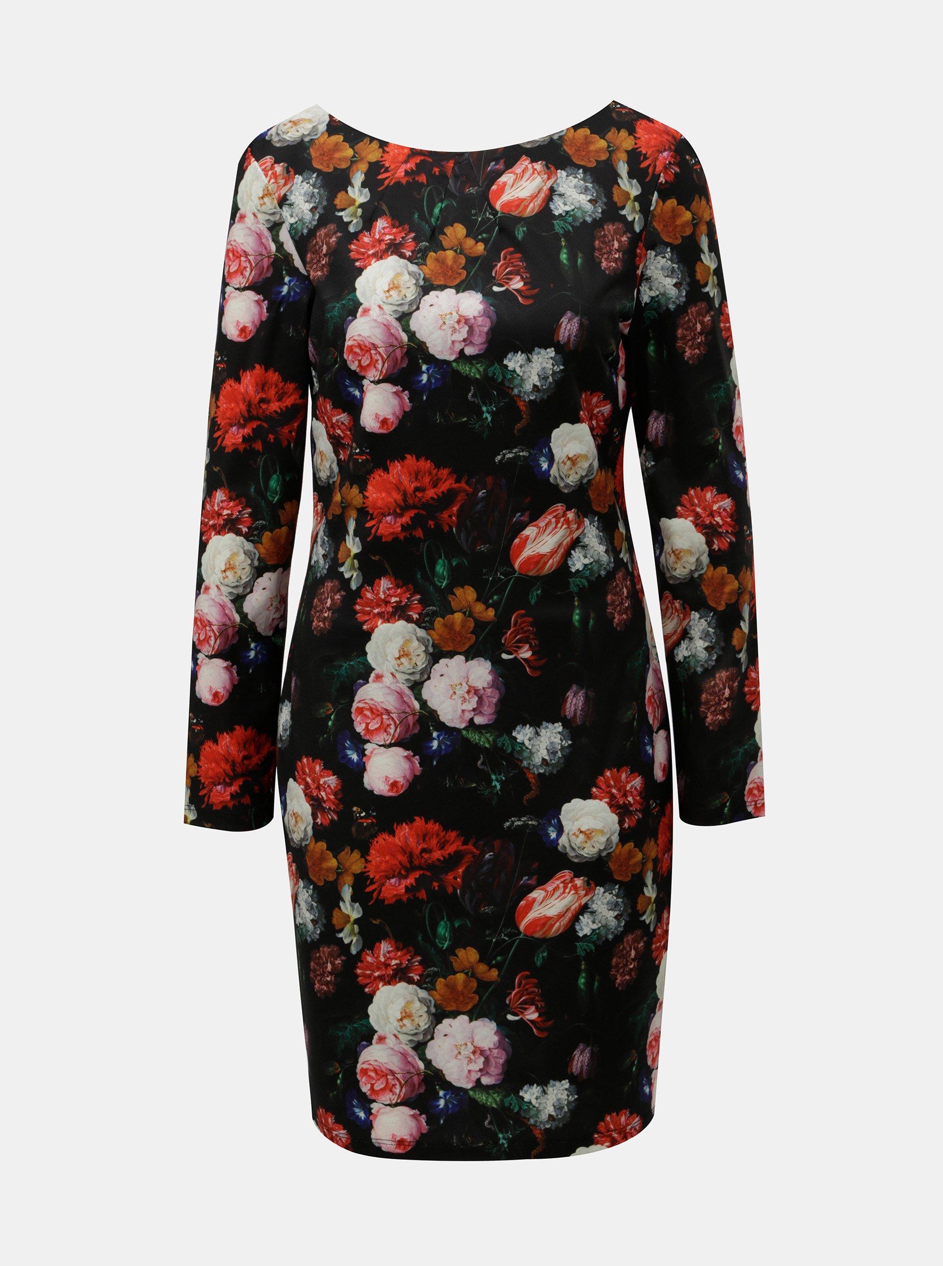 220c383336f9 Červeno-černé květované šaty Smashed Lemon