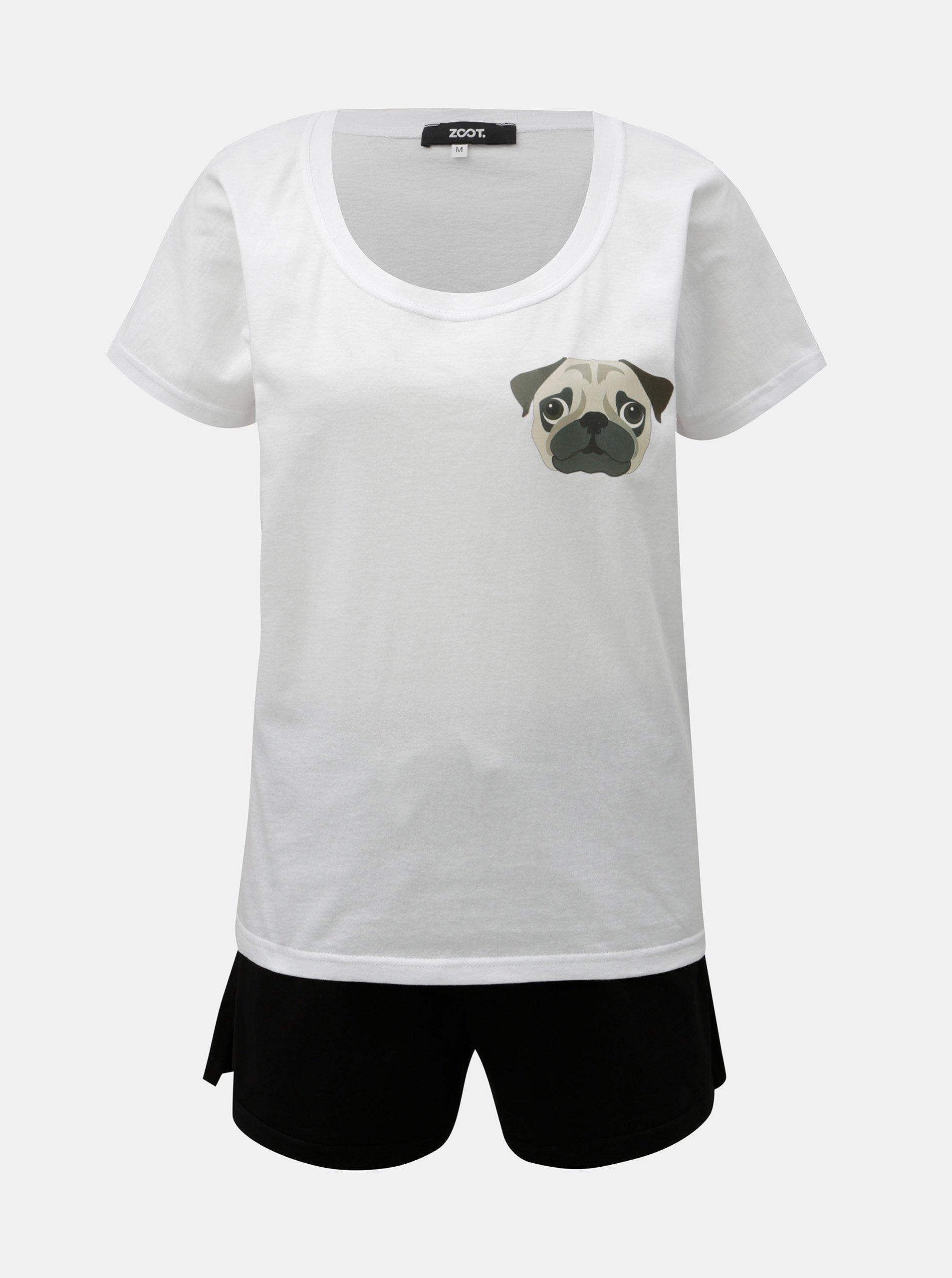 Čierno–biele dámske dvojdielne pyžamo s potlačou ZOOT Mops
