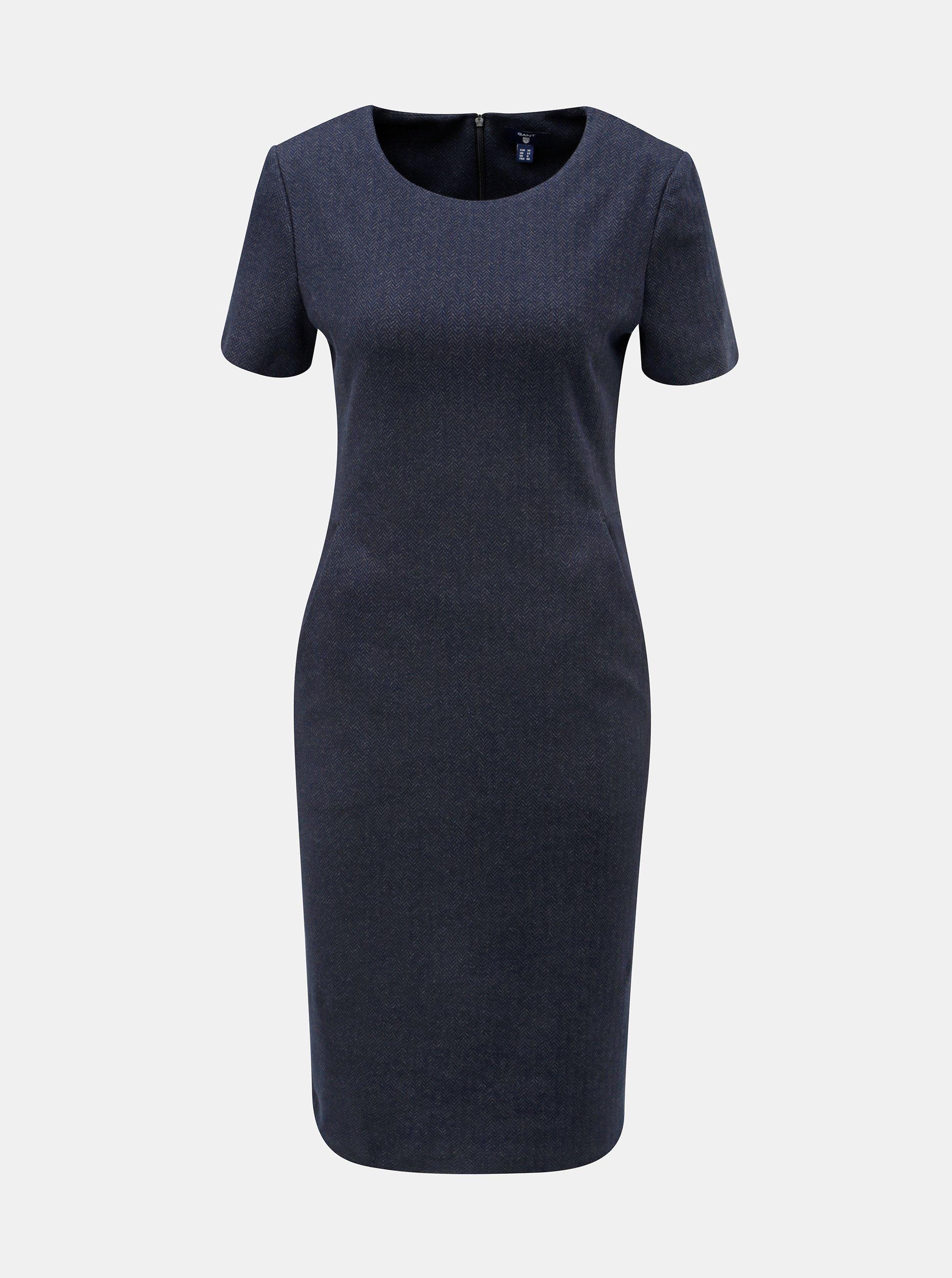 Tmavě modré pouzdrové vzorované šaty s krátkým rukávem GANT a94acc2833
