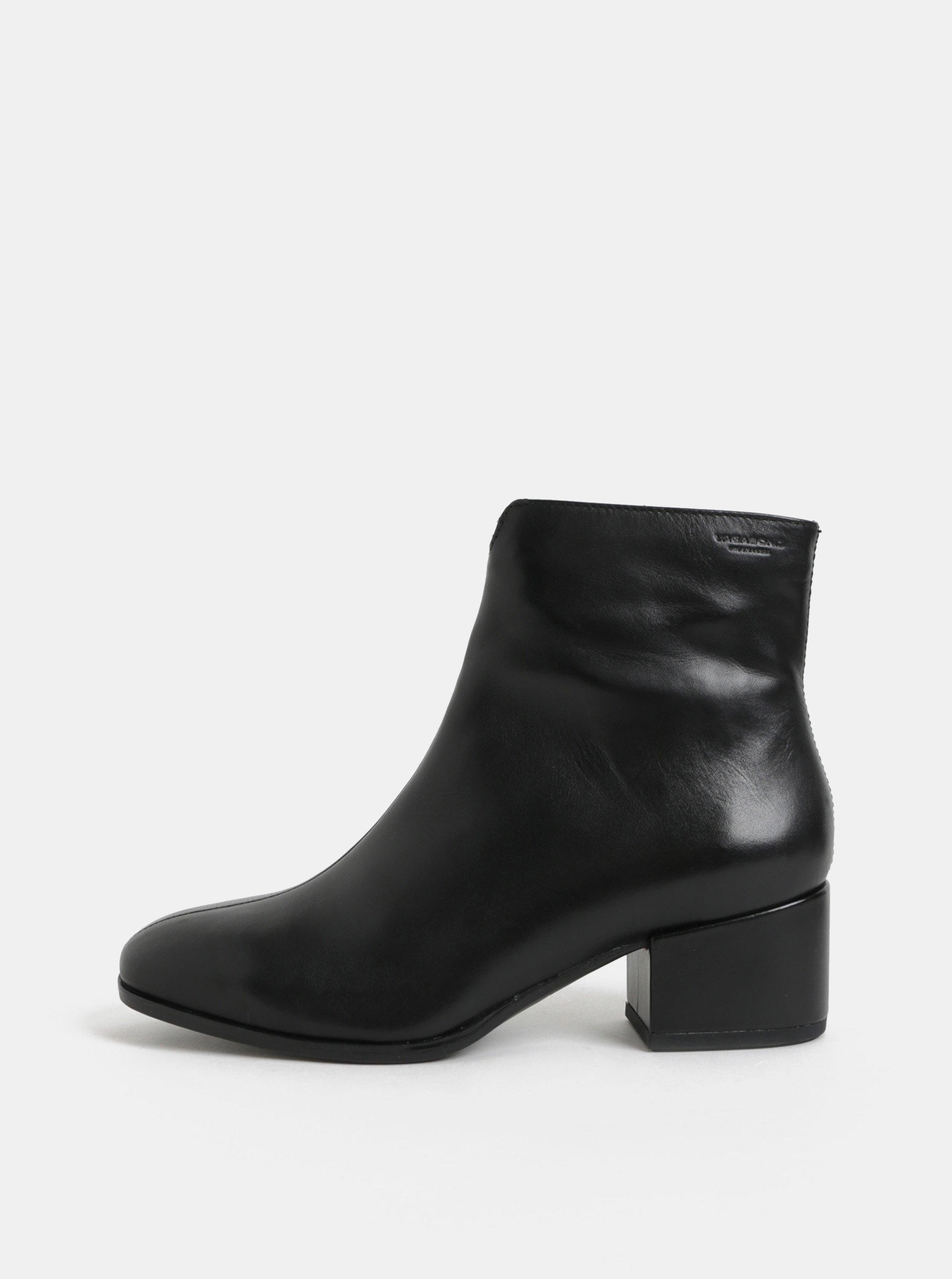 Čierne dámske kožené členkové topánky na nízkom podpätku Vagabond Daisy