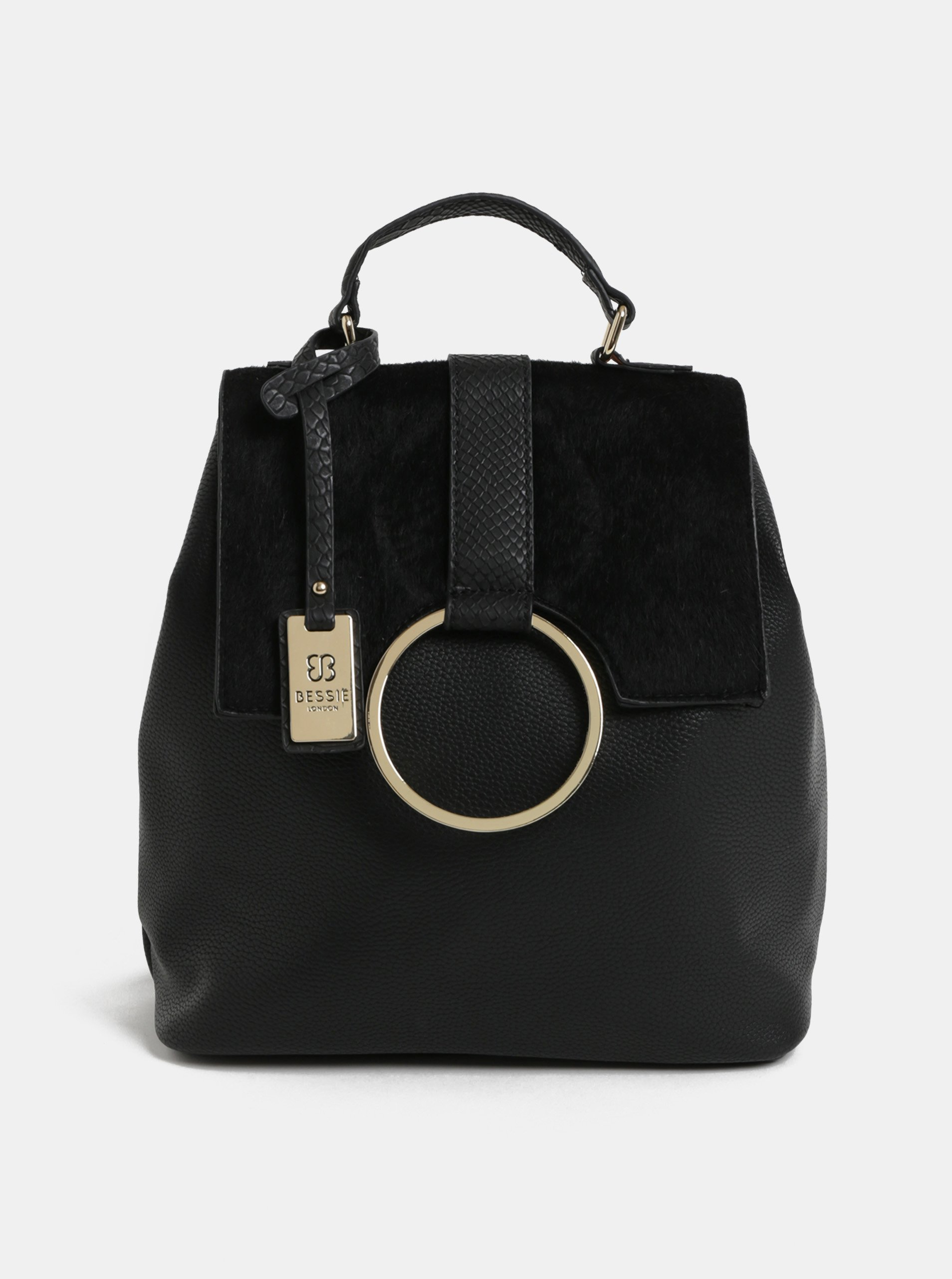 Fotografie Černý batoh s umělým kožíškem a detaily ve zlaté barvě Bessie London