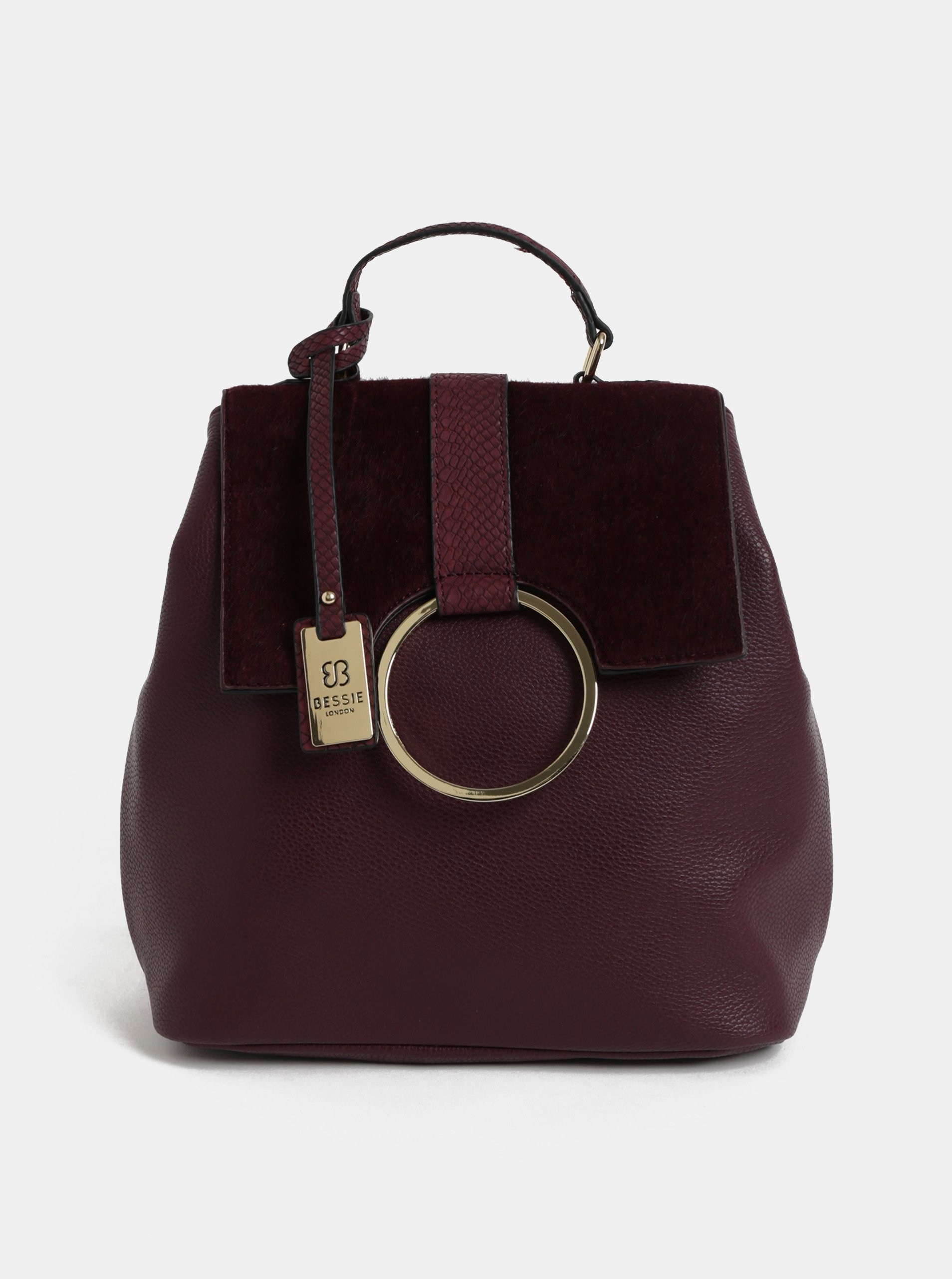 Fotografie Vínový batoh s umělým kožíškem a detaily ve zlaté barvě Bessie London
