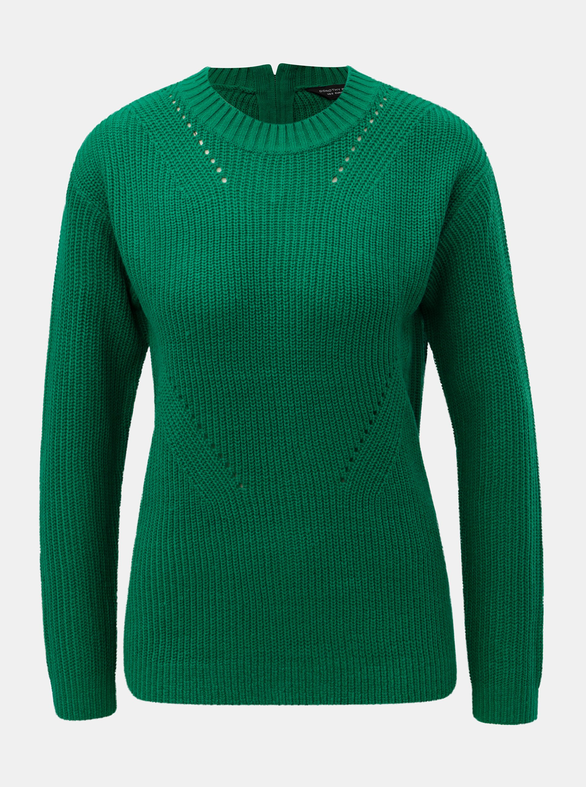 896101f6fdc2 Zelený svetr se zipem na zádech Dorothy Perkins