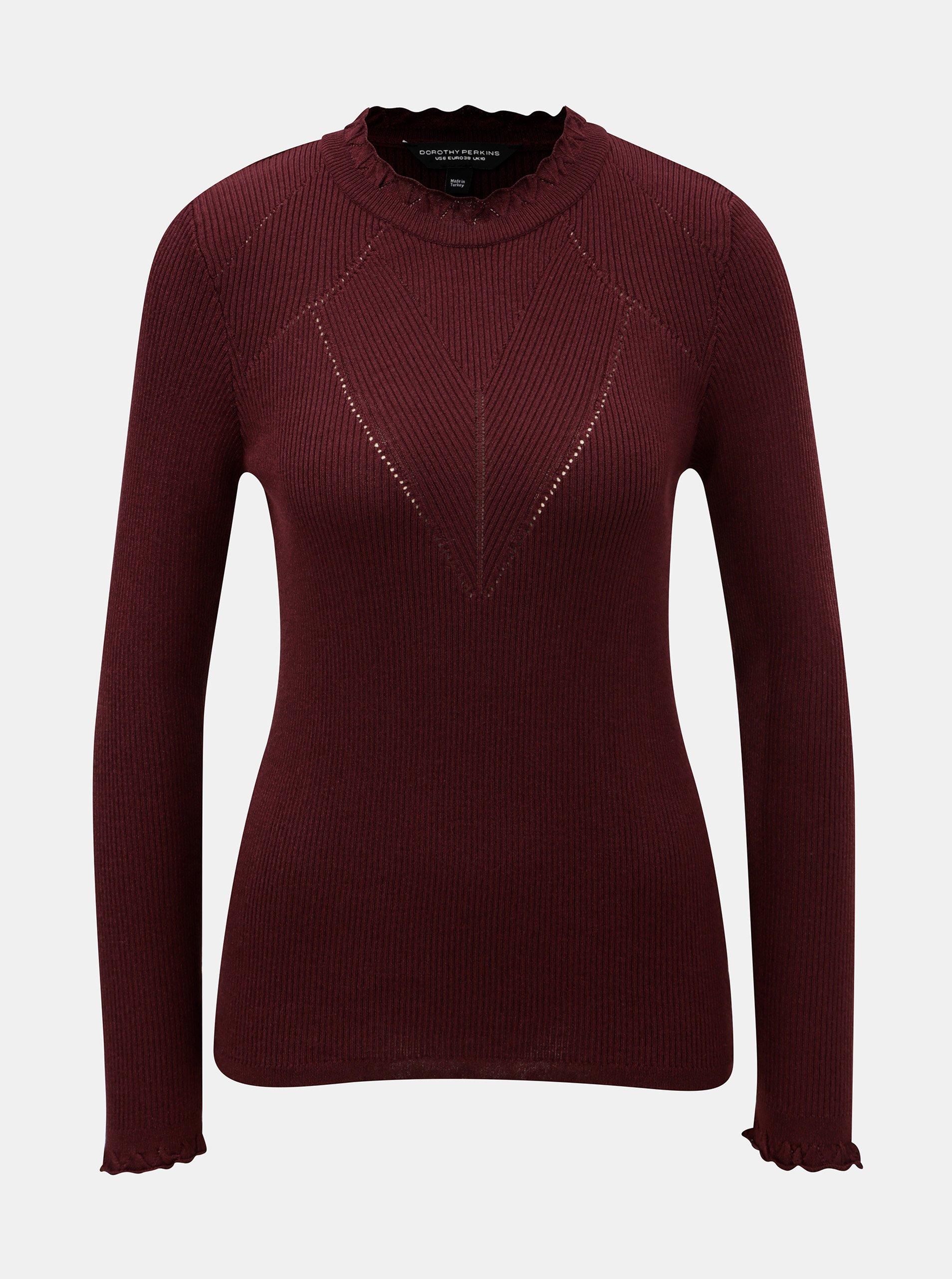 Vínový žebrovaný svetr s ozdobnými lemy Dorothy Perkins