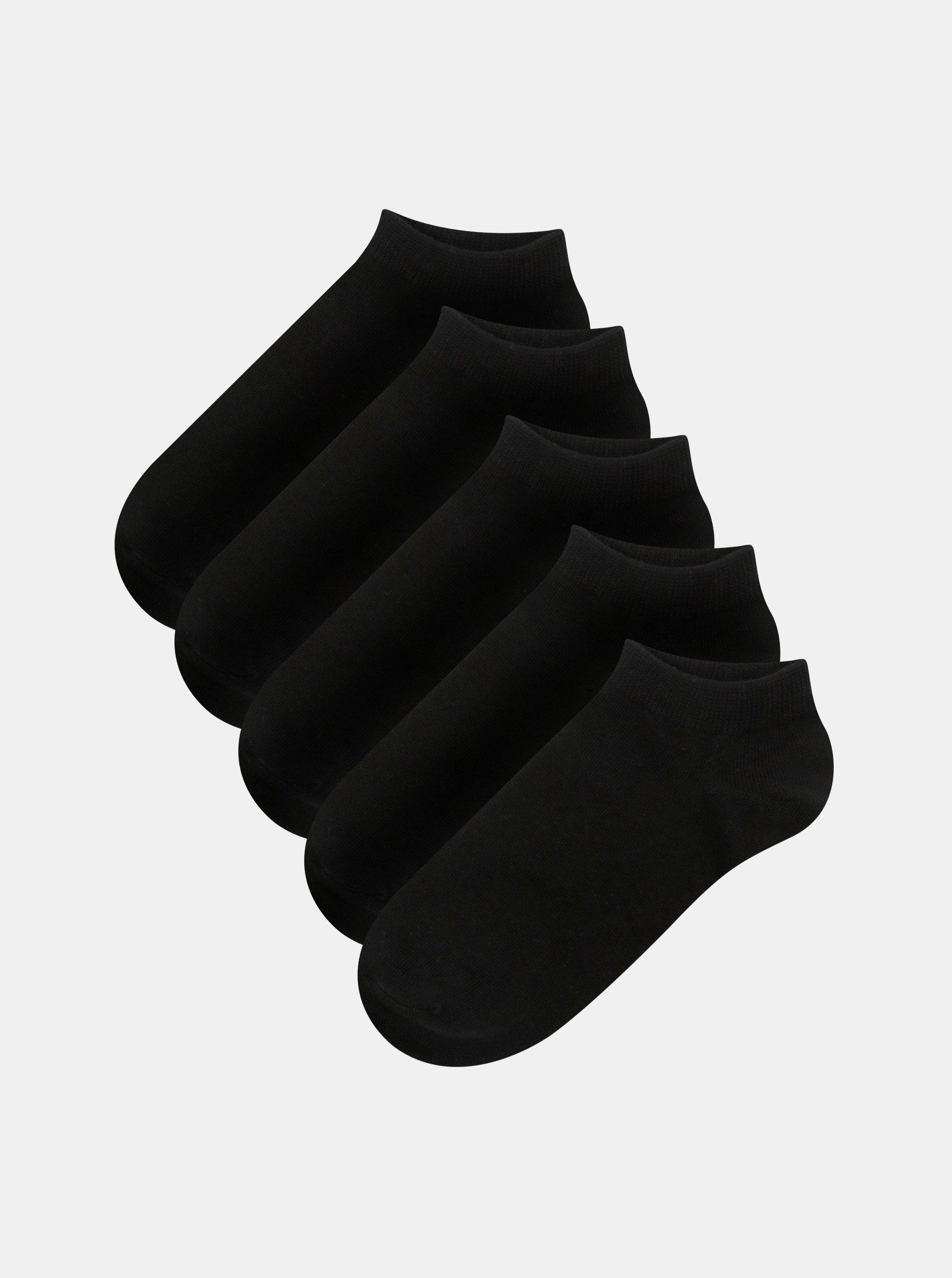 Sada pěti párů kotníkových ponožek v černé barvě Jack & Jones Dongo