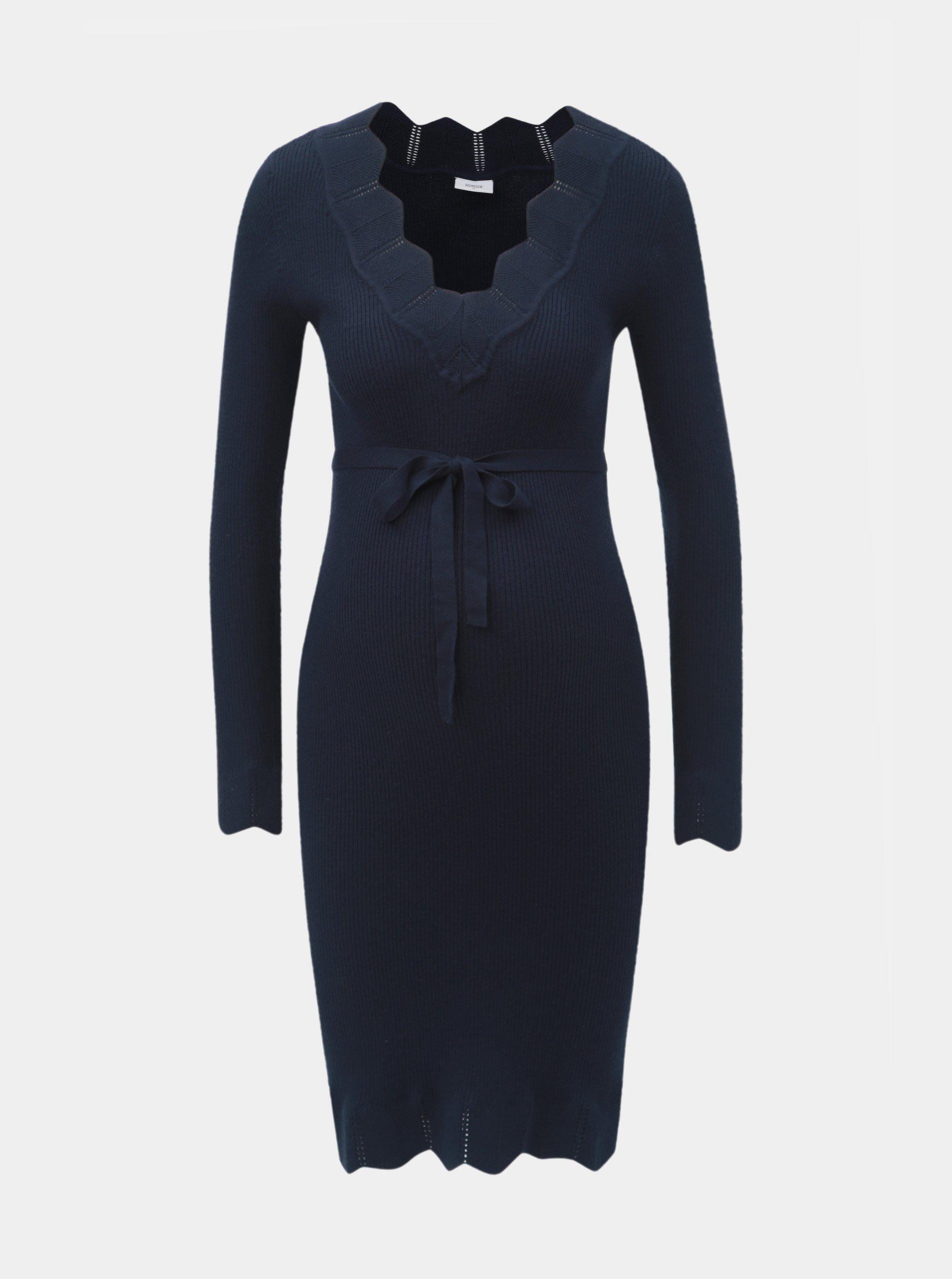 83a236a69337 Tmavě modré těhotenské svetrové šaty Mama.licious Eva