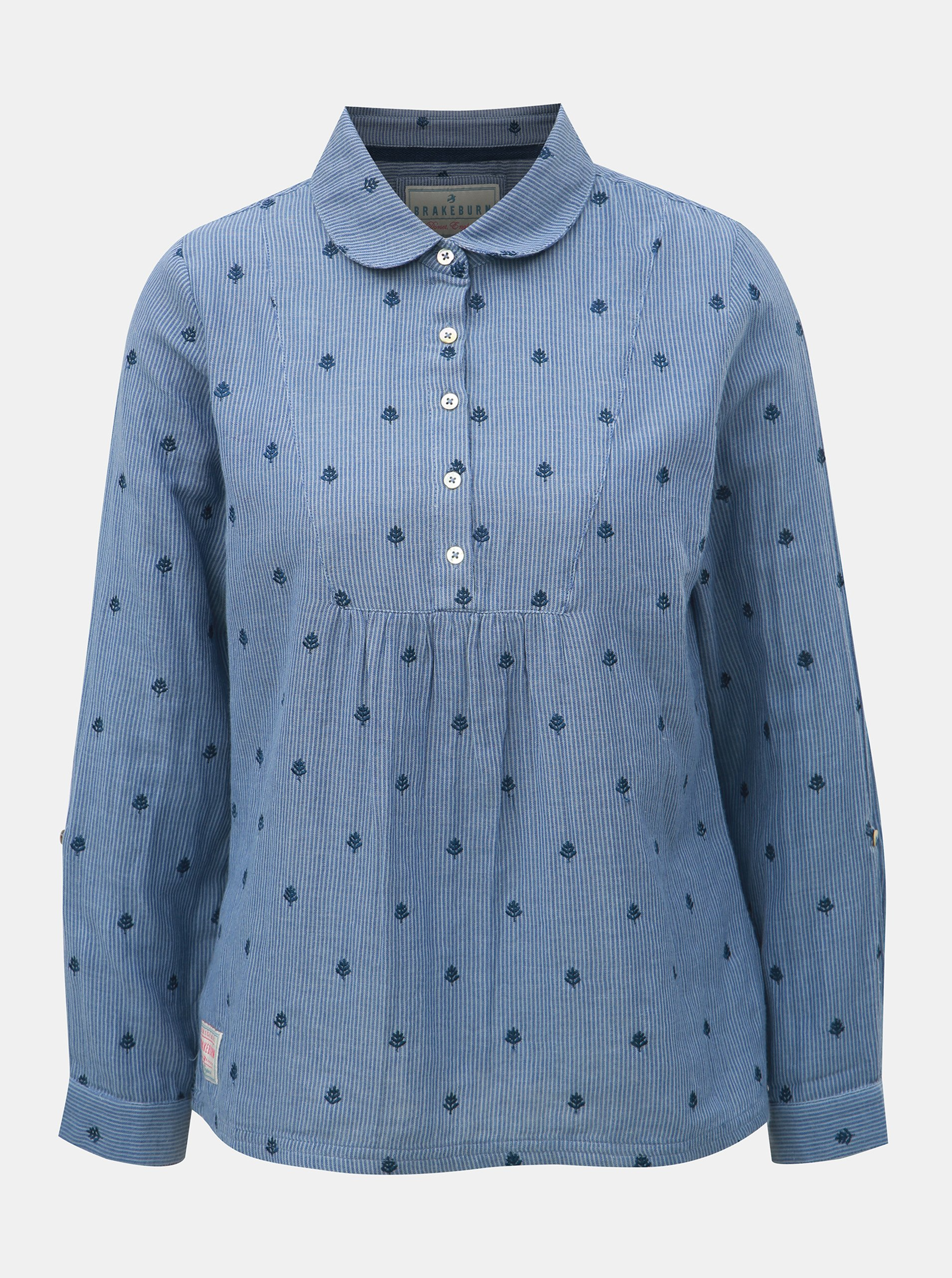 Fotografie Modrá pruhovaná dámská halenka s drobnou výšivkou Brakeburn