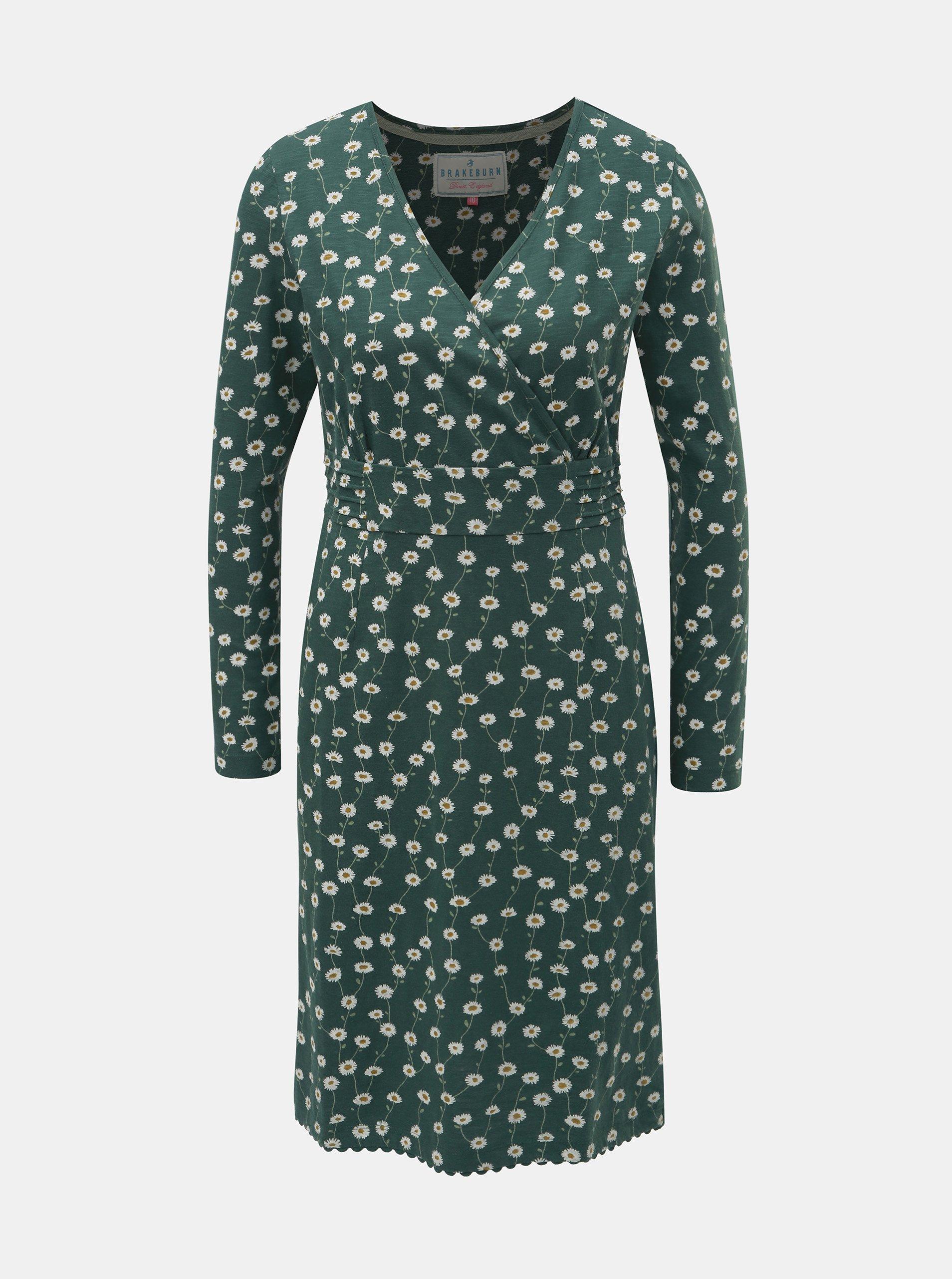 Zelené kvetované šaty s dlhým rukávom Brakeburn