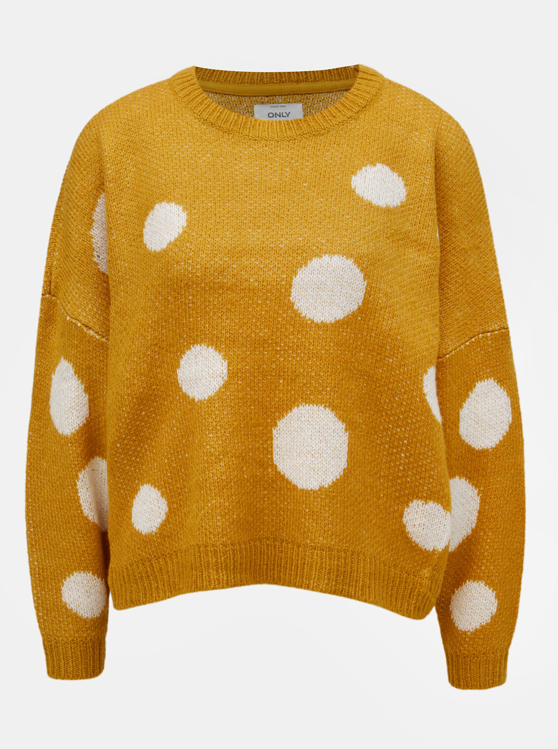 Hořčicový puntíkovaný svetr ONLY Tiffany