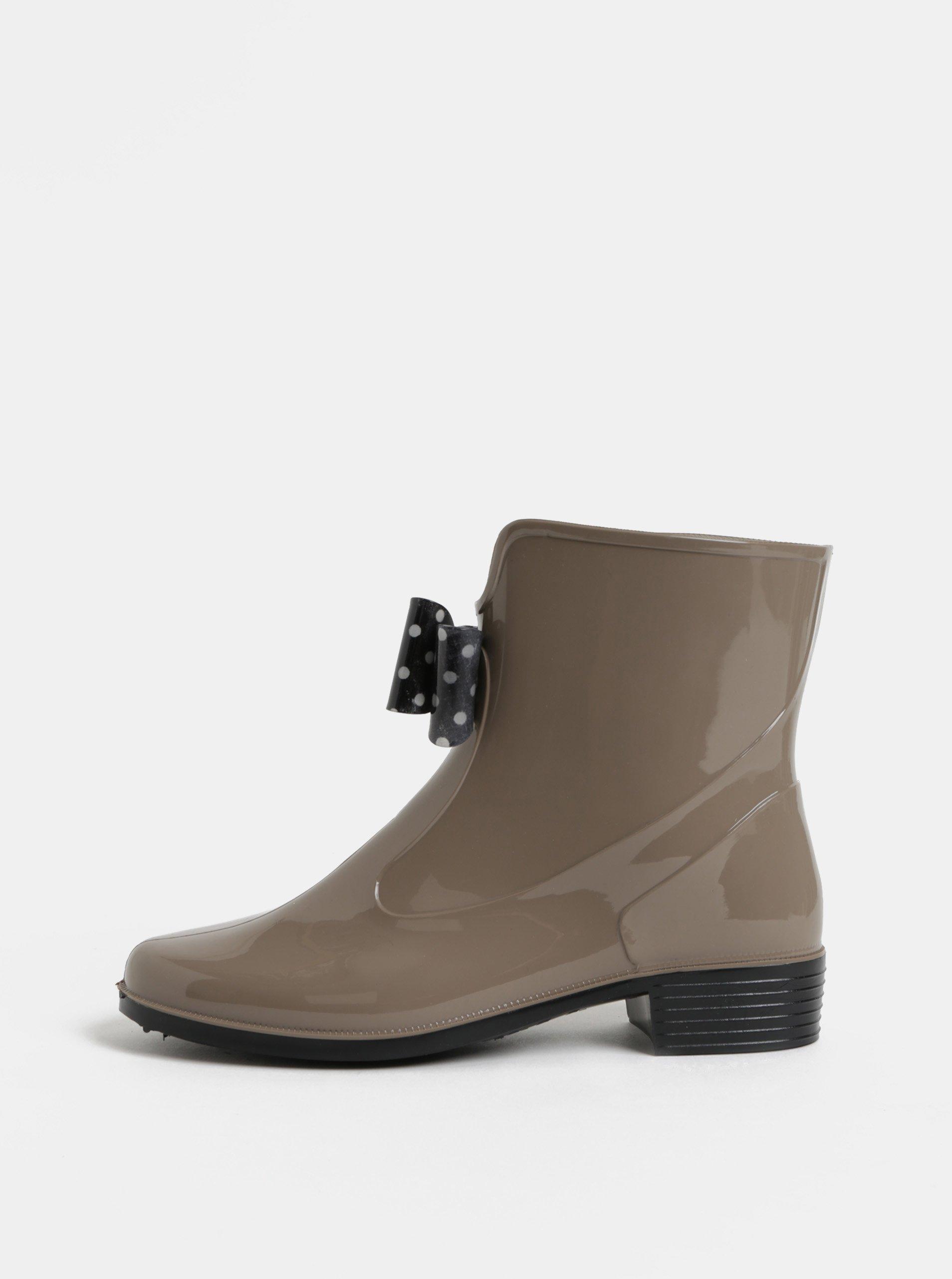 a8154a89610c0 Béžové gumové kotníkové boty s puntíkovanou mašlí OJJU