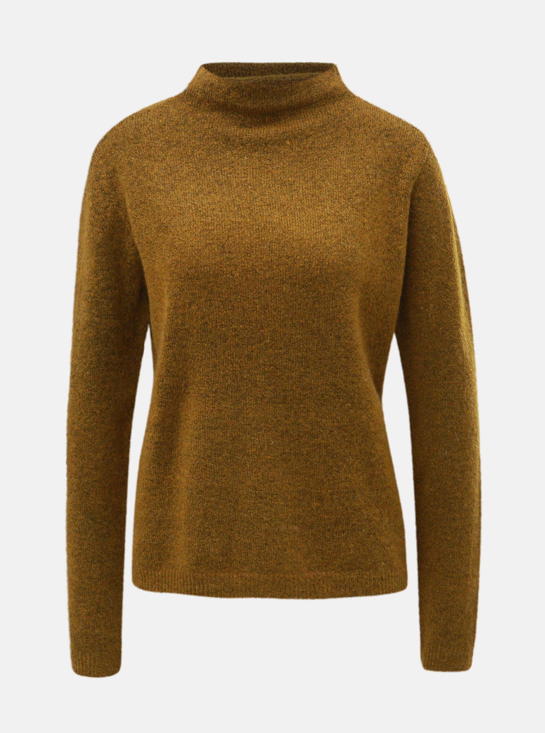 Hnědý svetr se stojáčkem a příměsí vlny Jacqueline de Yong Roberta