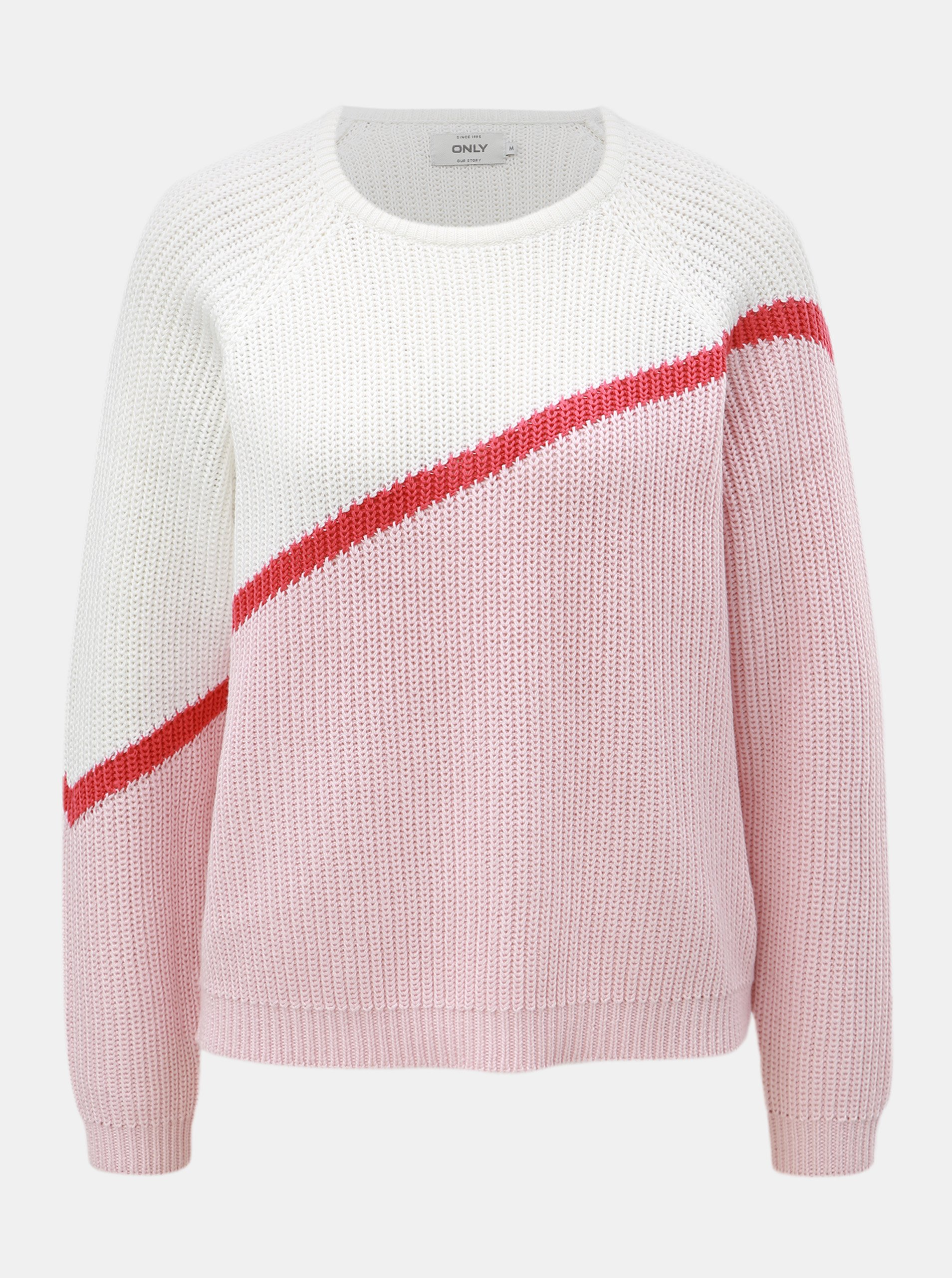 Bielo–ružový sveter s dlhým rukávom ONLY Hilde