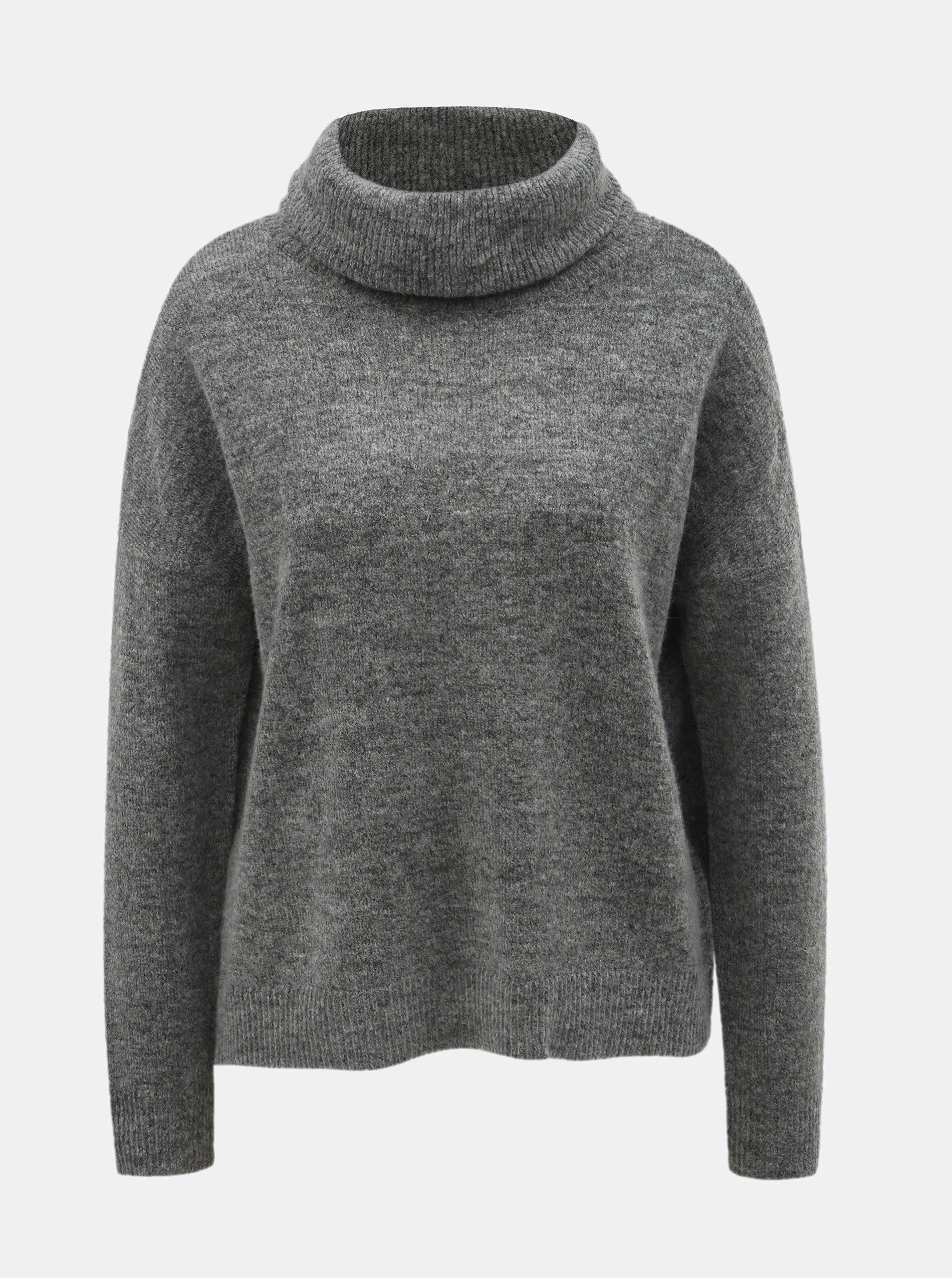 5578d35350 Šedý žíhaný svetr s rolákem s příměsí vlny ONLY Meredith