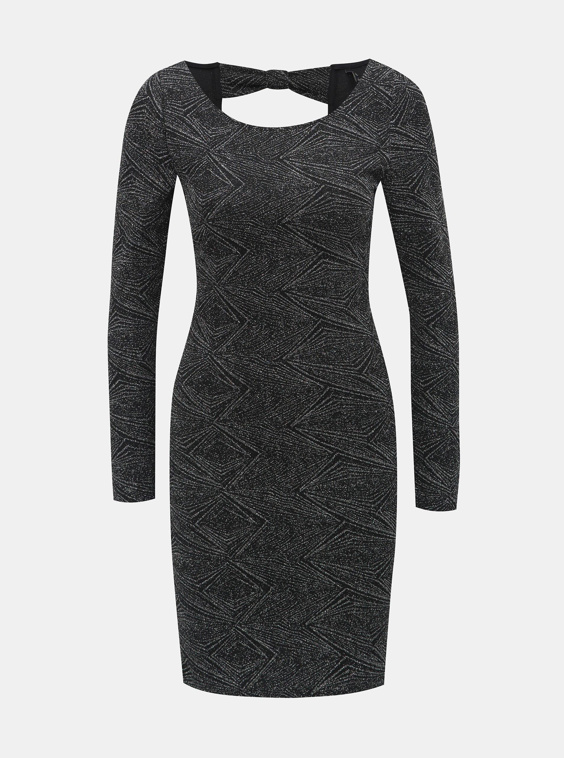Vzorované pouzdrové šaty v černé a stříbrné barvě s průstřihem na zádech ONLY Shine