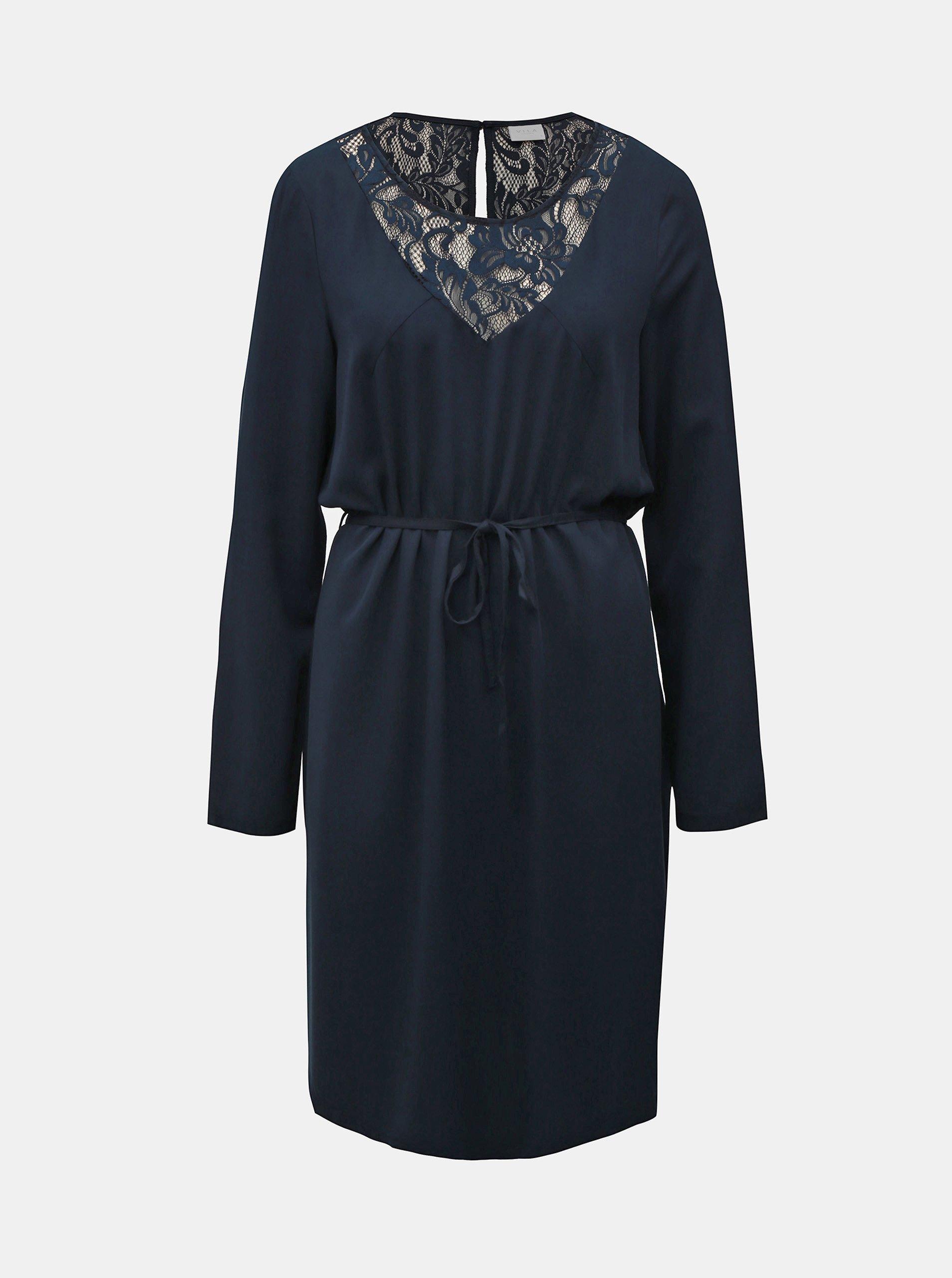 Tmavě modré šaty s krajkou a páskem VILA Verly