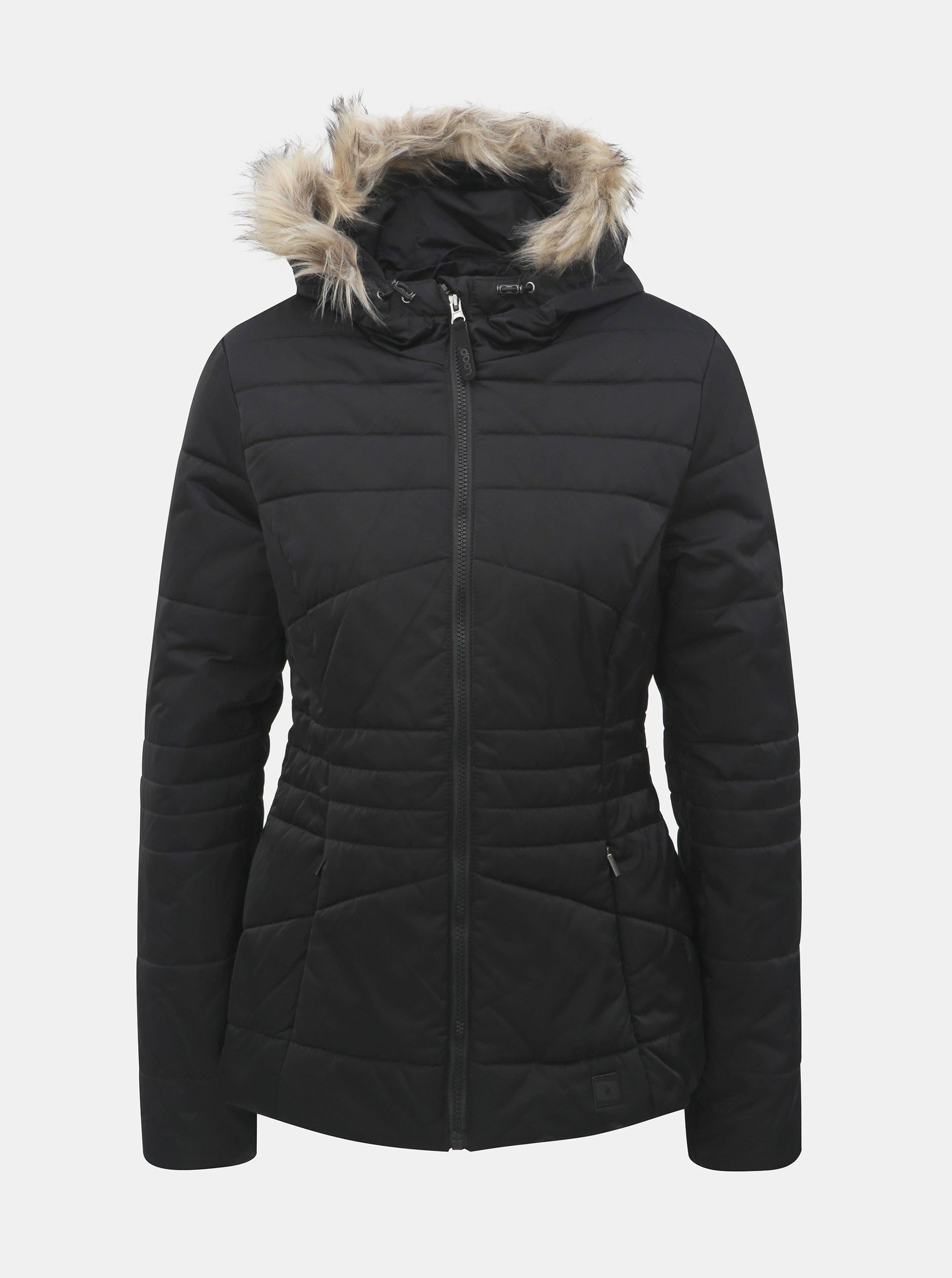 Čierna dámska nepremokavá zimná bunda s odnímateľnou kožušinkou na kapucni LOAP Tiara