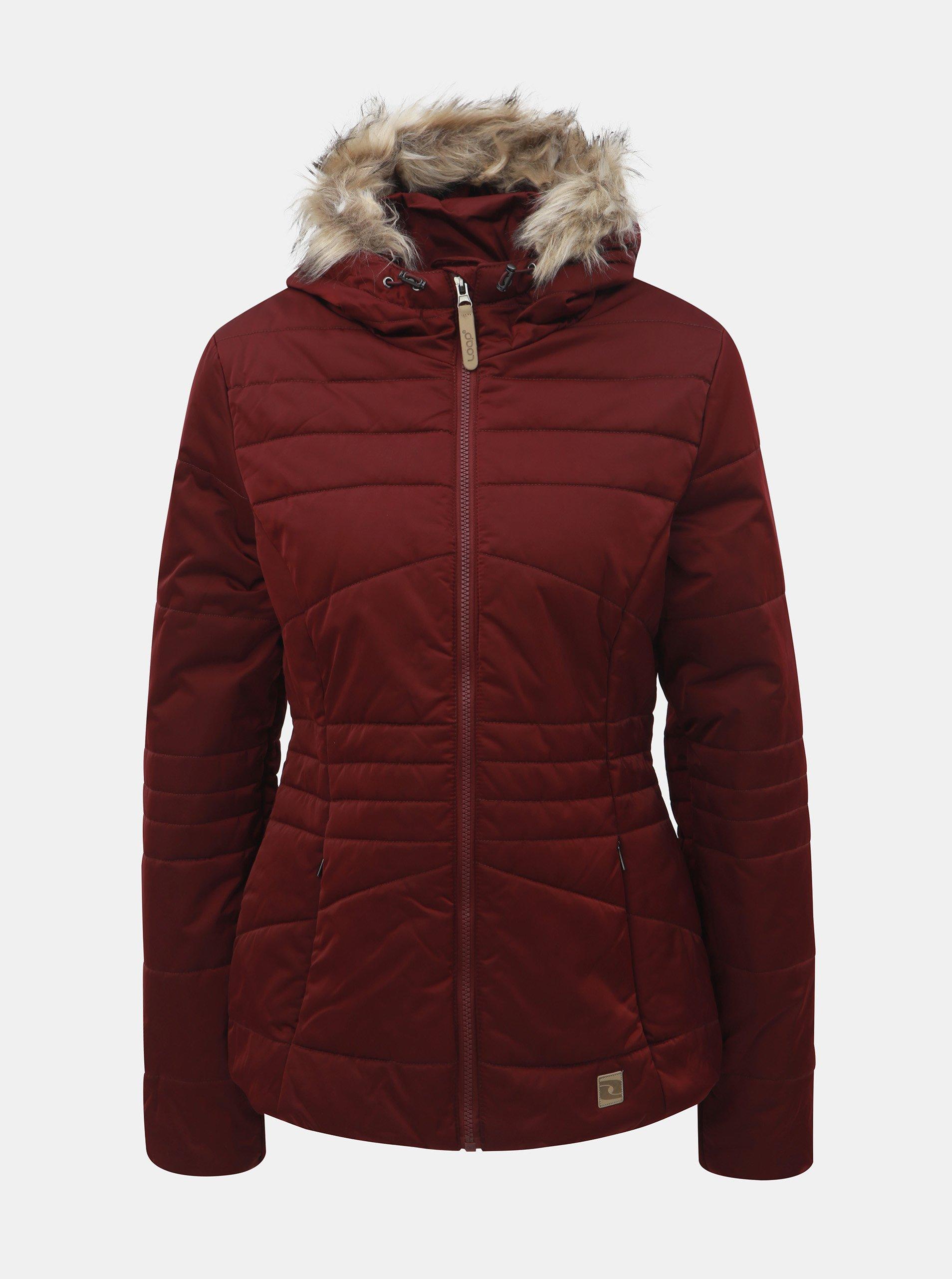 Vínová dámska nepremokavá zimná bunda s odnímateľnou kožušinkou na kapucni LOAP Tiara