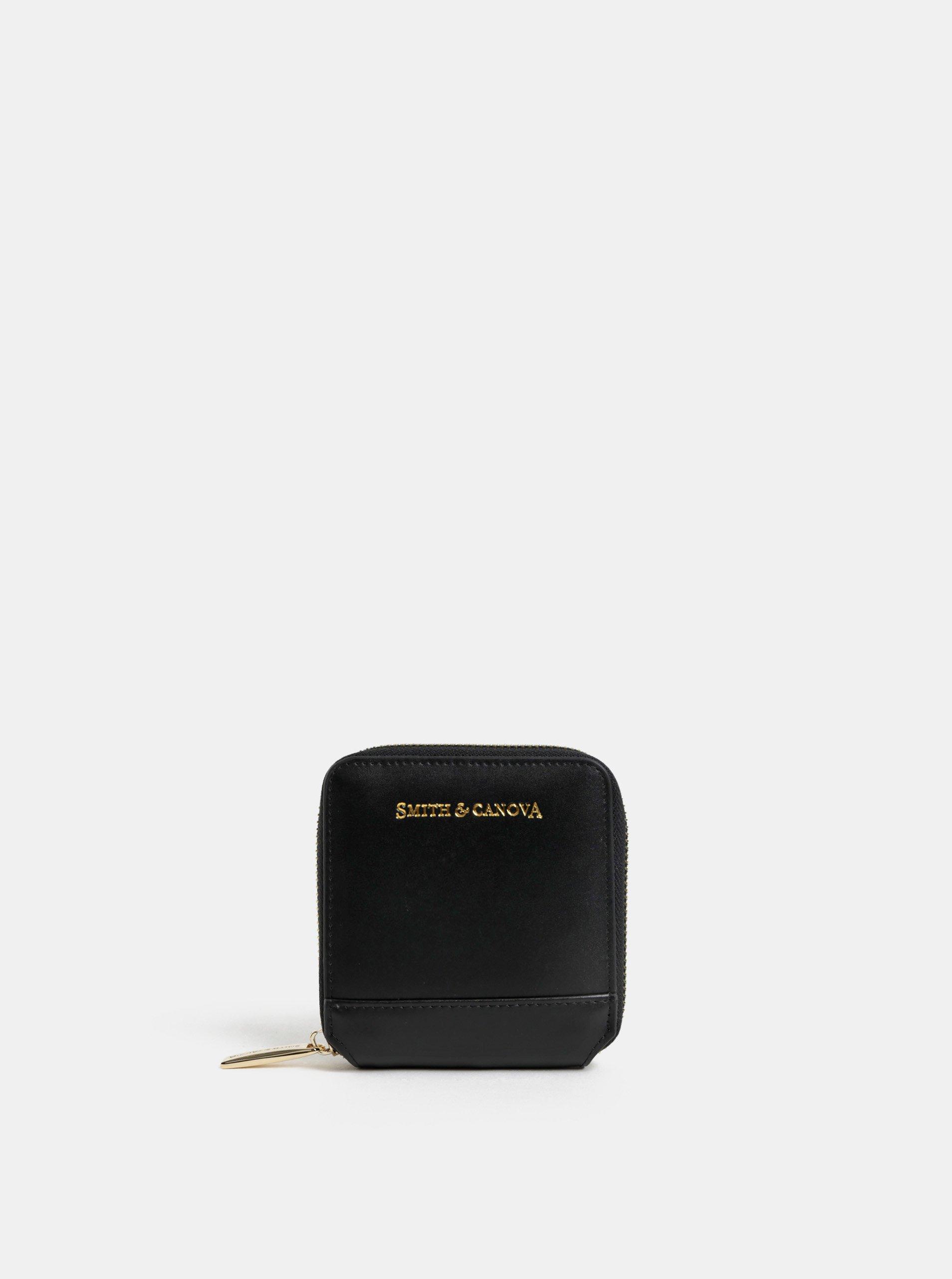 Čierna kožená malá peňaženka Smith & Canova